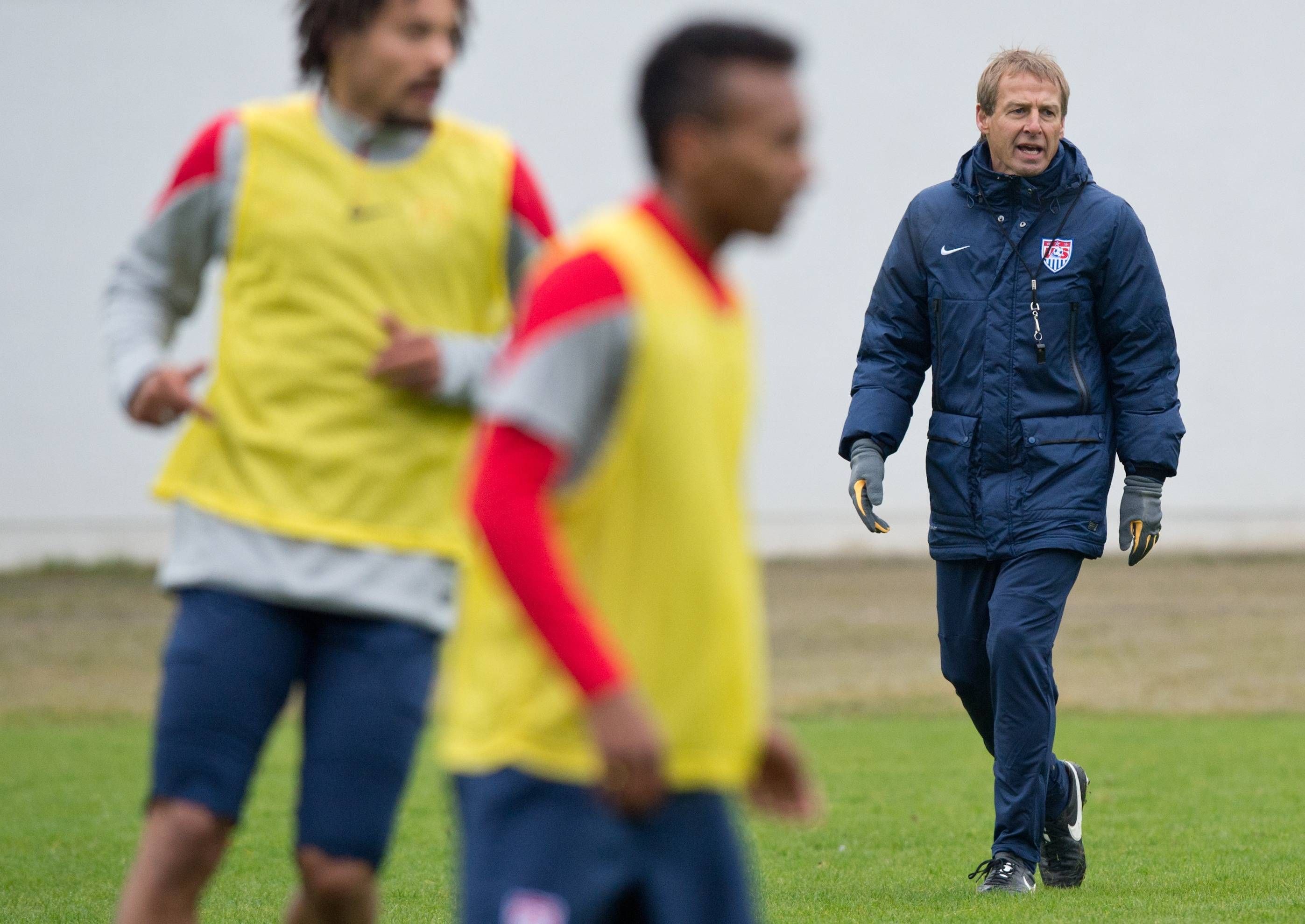 Coach Juergen Klinsmann leads a training session with the U.S. men's national soccer team Monday in Frankfurt Germany. The U.S. team will face Ukraine on Cyprus on Wednesday.