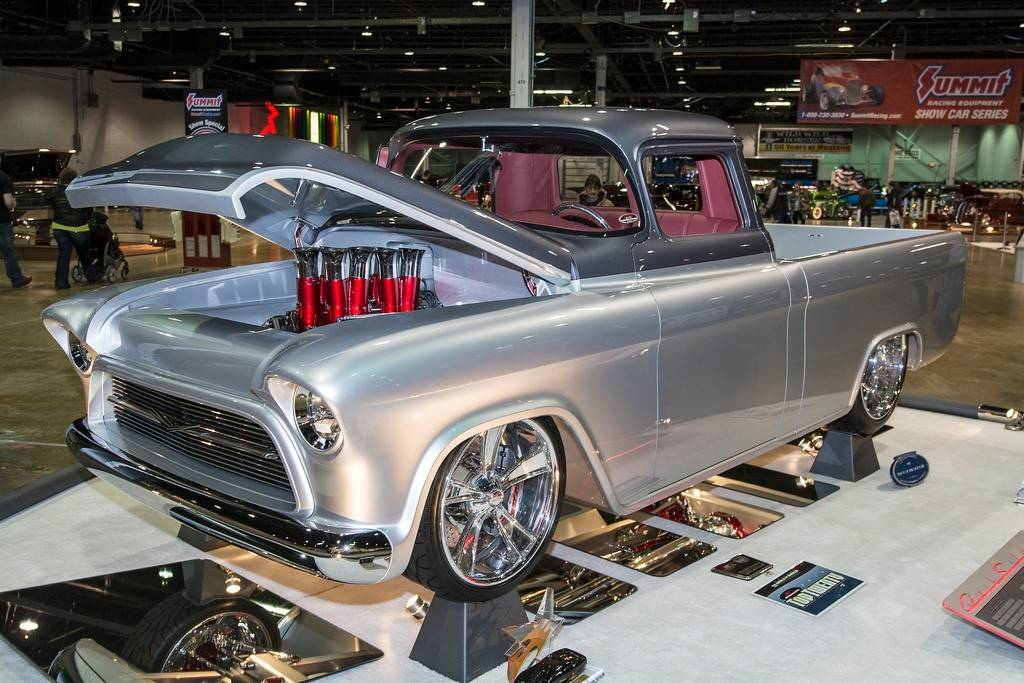 "This 1957 Chevrolet pickup has been dubbed ""QuickSilver"" by owner Alan Beers of Owasso, Okla."