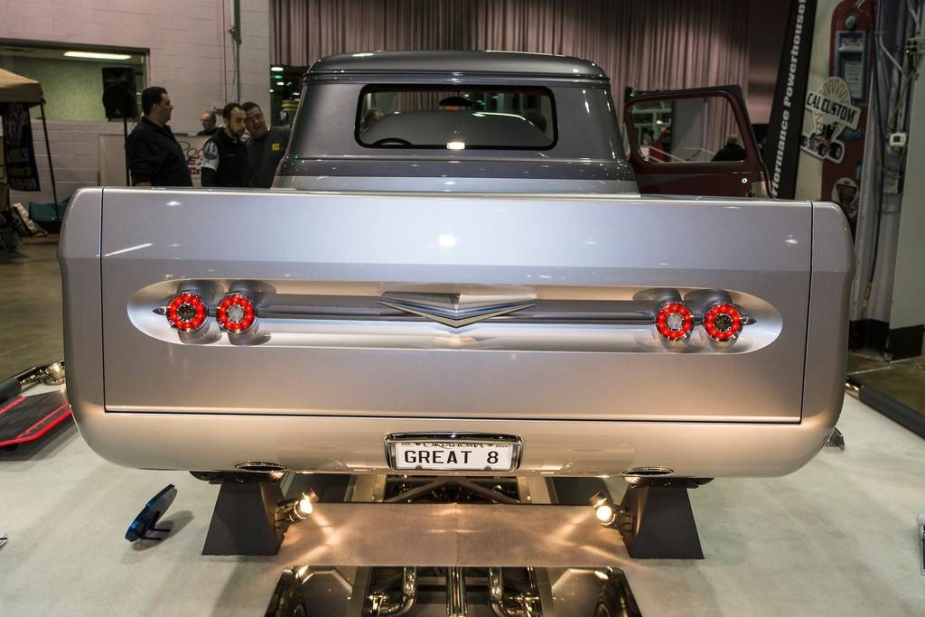The tailgate and bed of this pickup was fabricated. The taillights were designed to resemble a 1962 Chevrolet Impala.