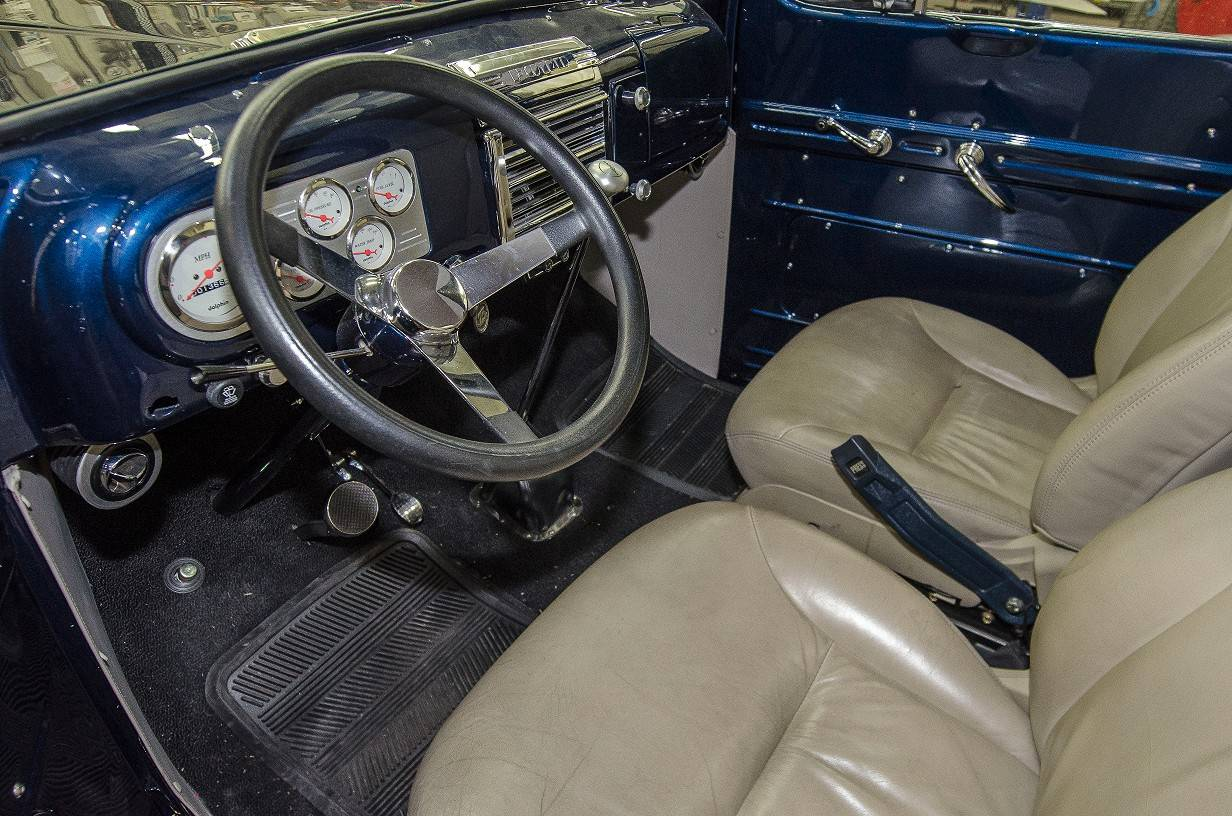 Bucket seats from a 2004 Lexus GS make for a luxury ride inside this vintage truck.