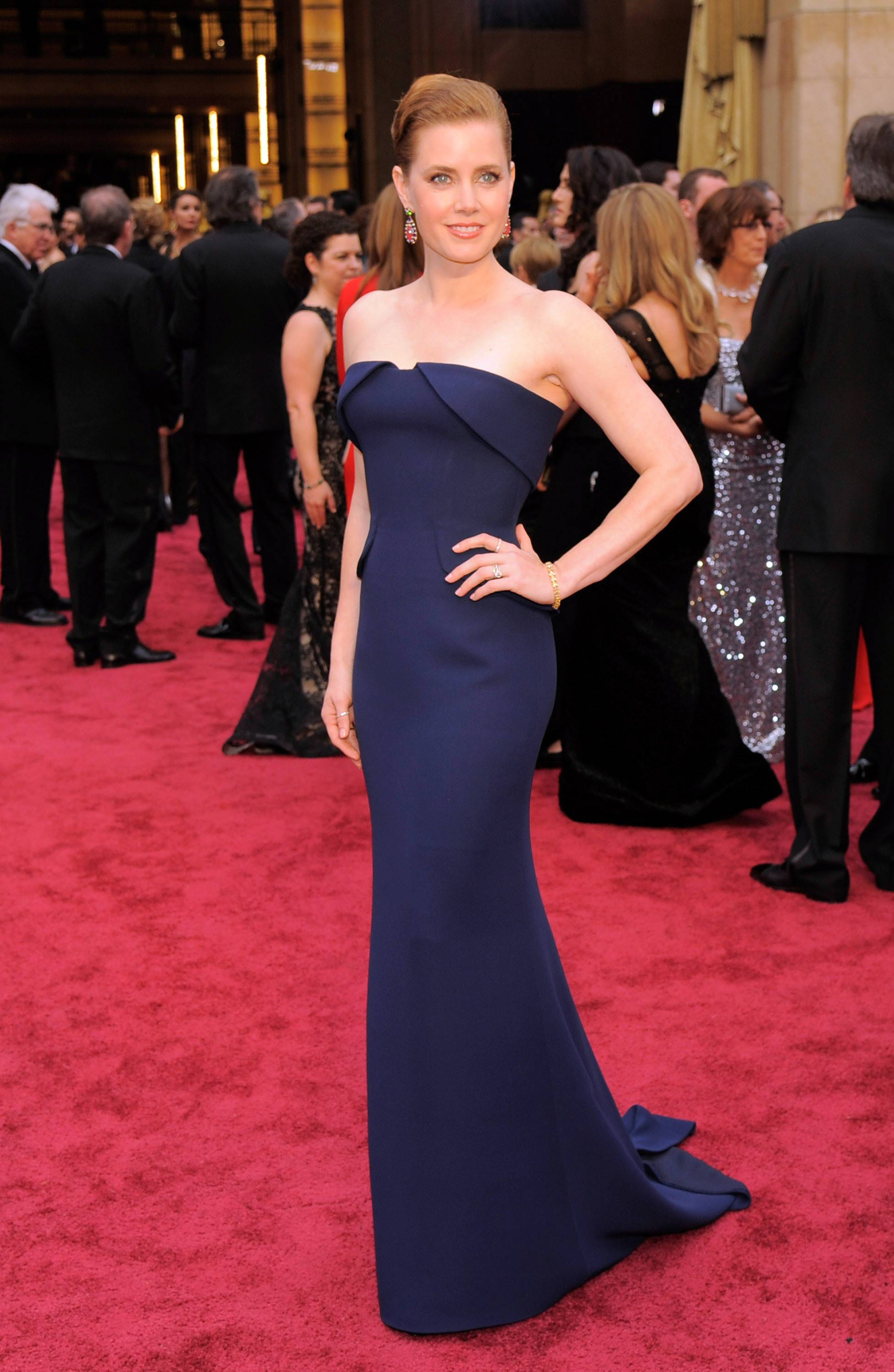 Amy Adams wore a blue column strapless by Gucci.
