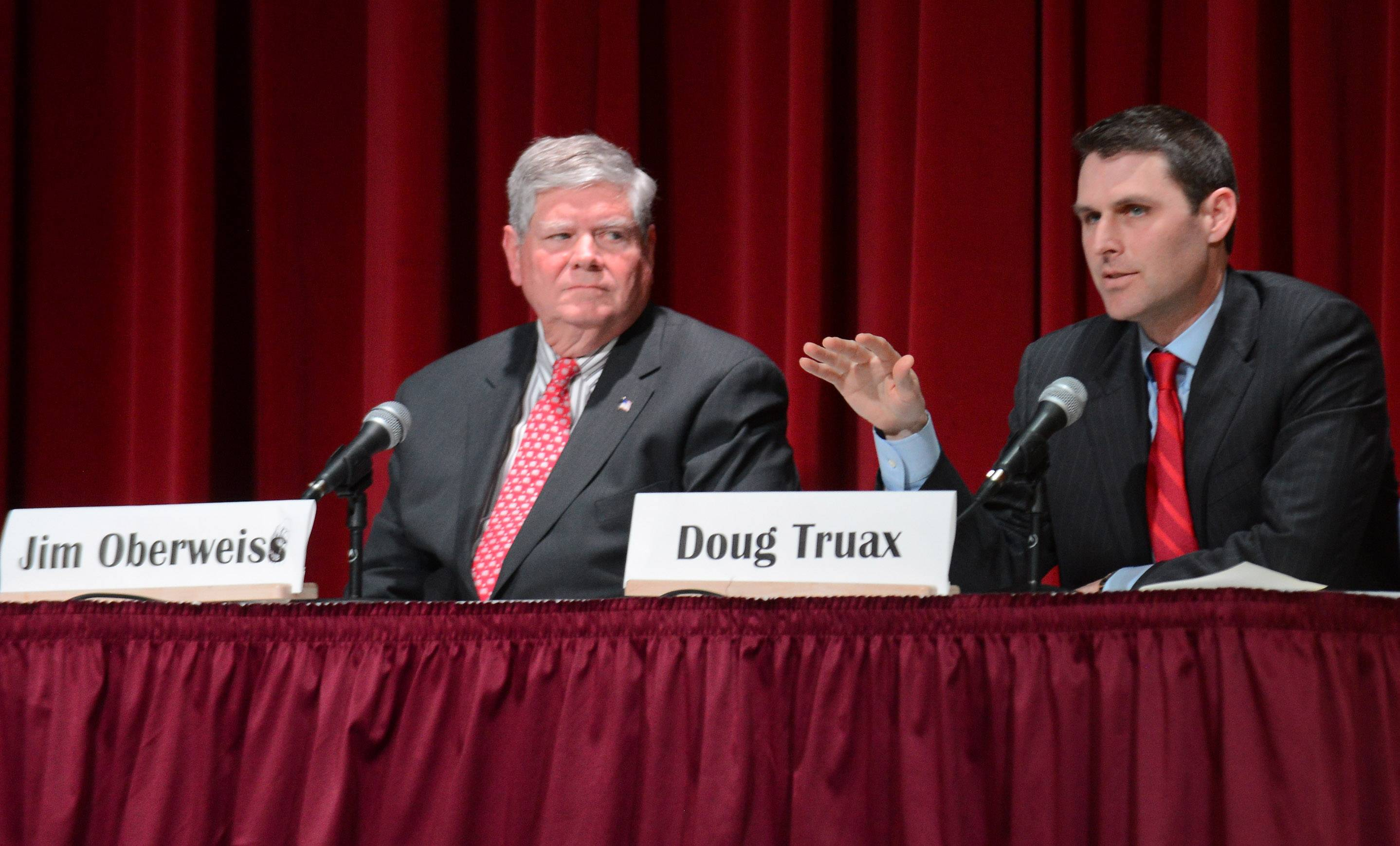 Republican candidates for U.S. Senate Jim Oberweis, left, and Doug Truax both oppose the new federal health care law, but Oberweis believes instead of merely repealing it, leaders should replace it with one that drives down insurance costs.