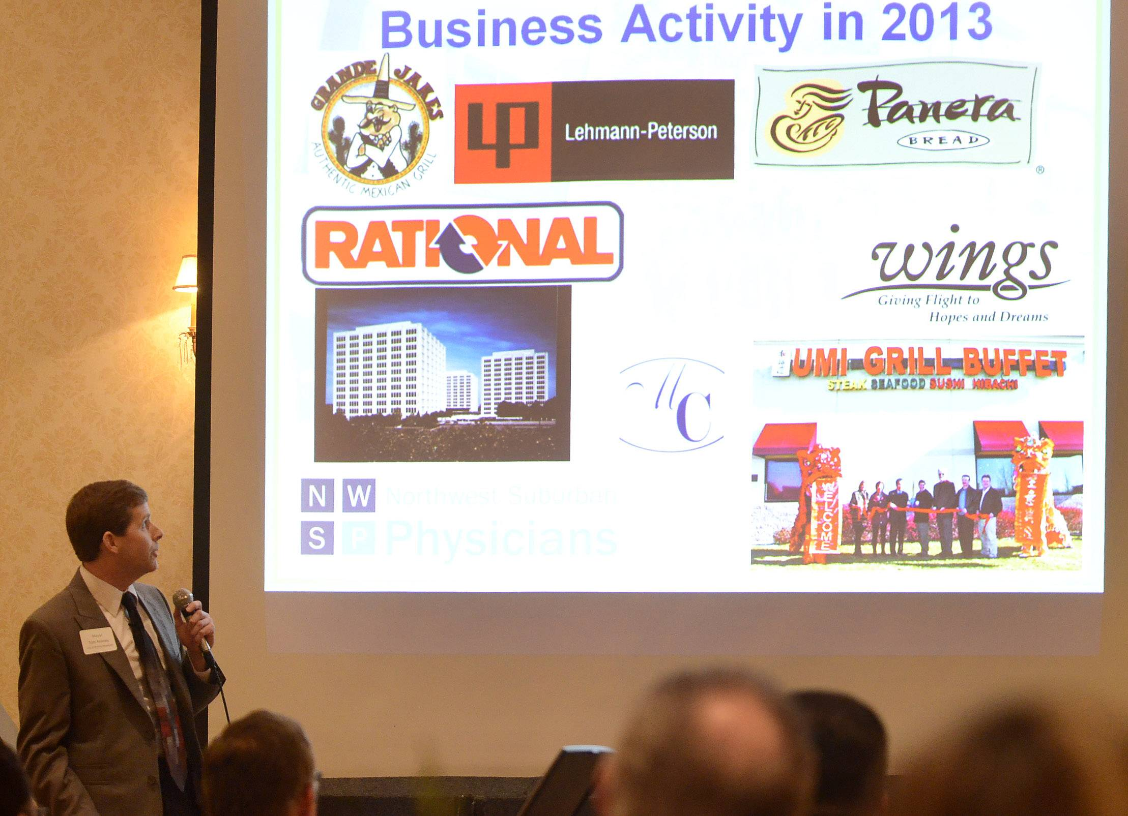 Rolling Meadows Mayor Tom Rooney talks about new businesses and other improvements Monday during his annual State of the City address Monday to members of the Rolling Meadows Chamber of Commerce.