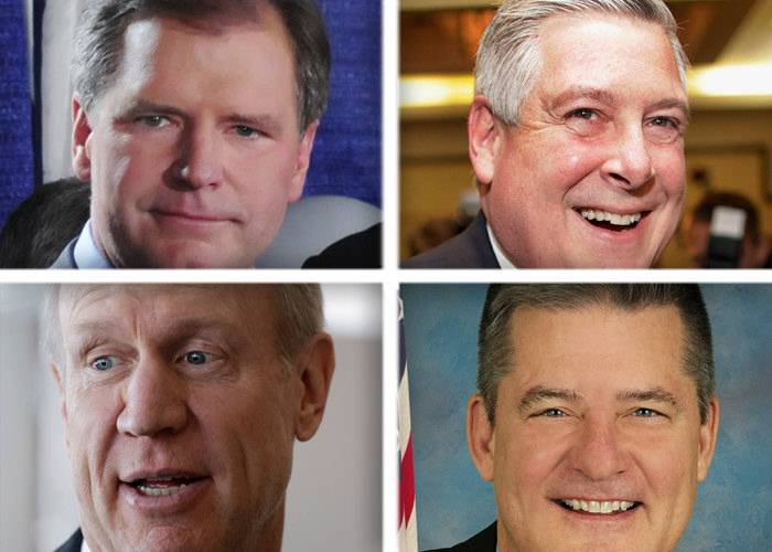 Clockwise from top left, Bill Brady, Kirk Dillard, Dan Rutherford and Bruce Rauner are seeking the Republican nomination for governor in the March 18 primary.