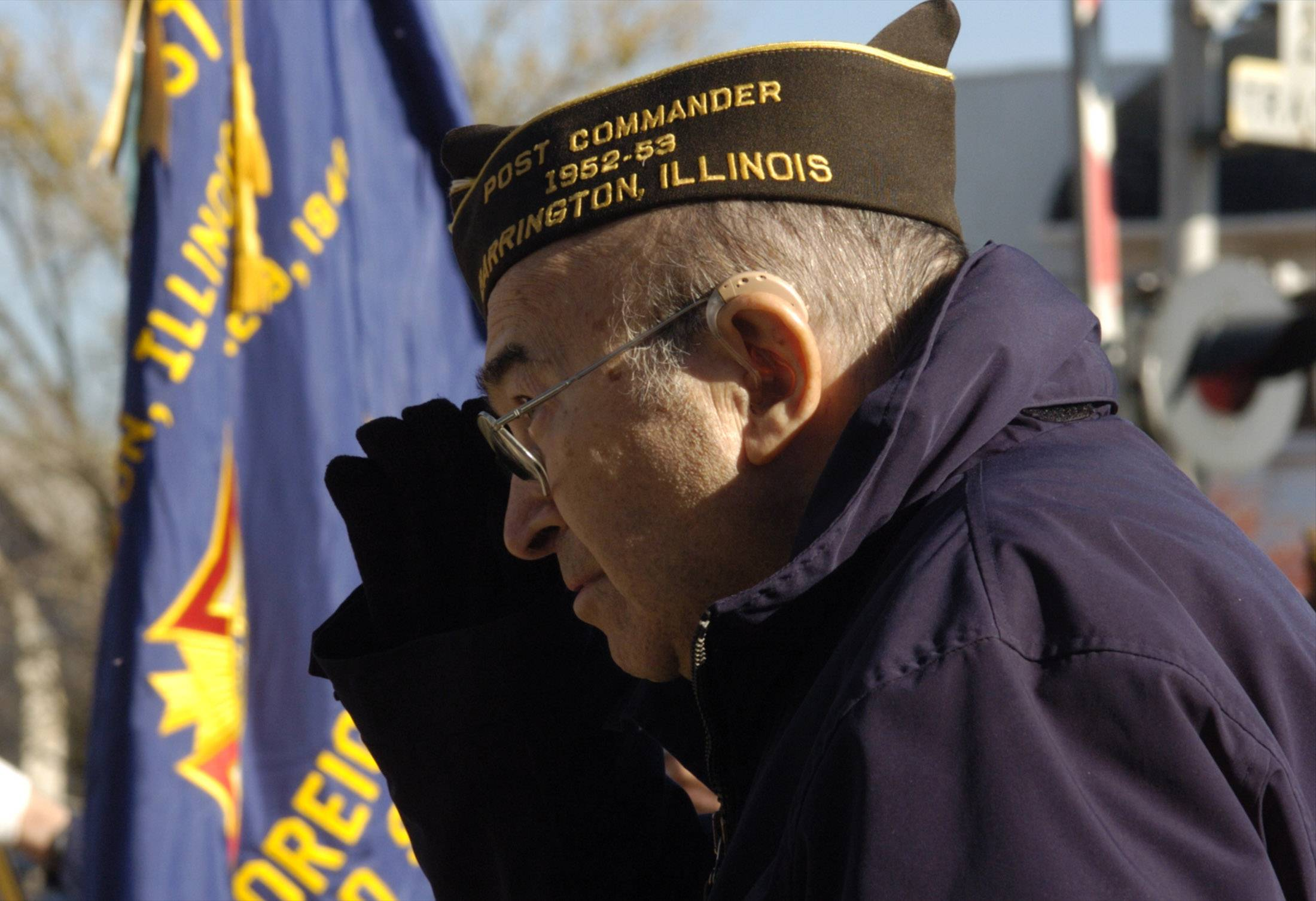 Harold Lipofsky, who served as president of Barrington VFW Post 7706, during a Memorial Day service in 2005.