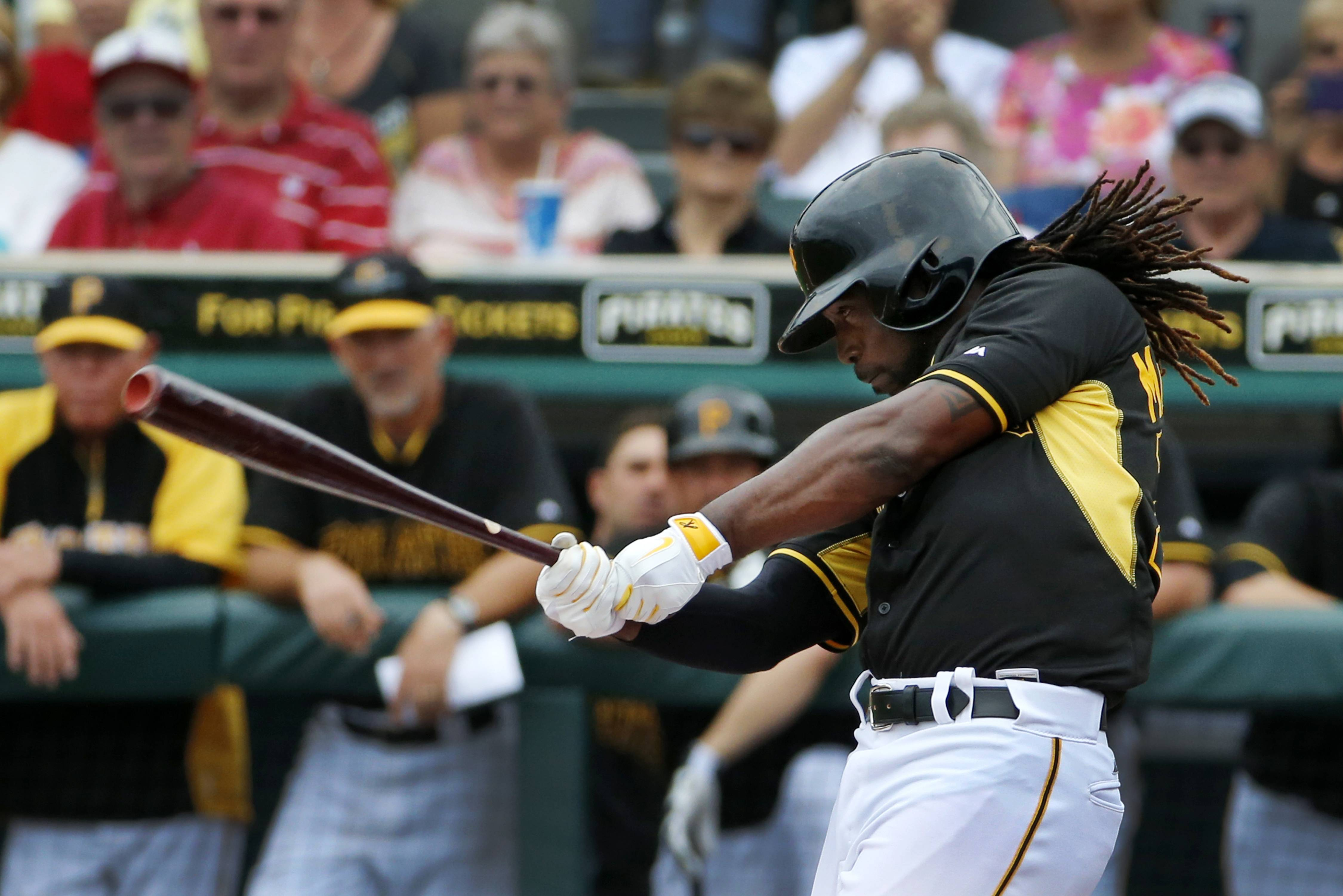 Pittsburgh Pirates' Andrew McCutchen singles off New York Yankees pitcher Ivan Nova during the first inning of a Feb. 26 exhibition spring training baseball game at McKechnie Field in Bradenton, Fla.