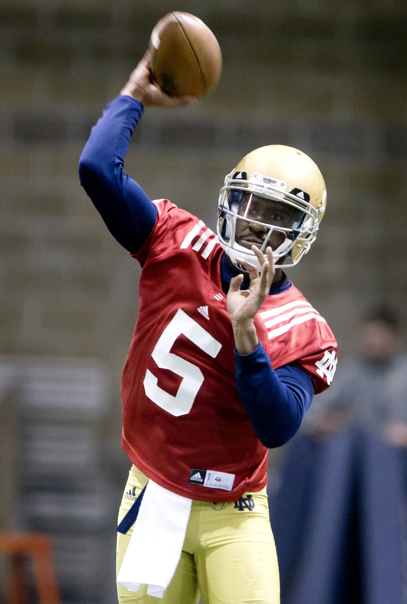 Notre Dame quarterback Everett Golson throws on the opening day of spring football practice Monday, in South Bend, Ind. The Irish are expecting the 6-foot, 200-pound quarterback to be better than he was in 2012, when he helped Notre Dame get to the national championship game.