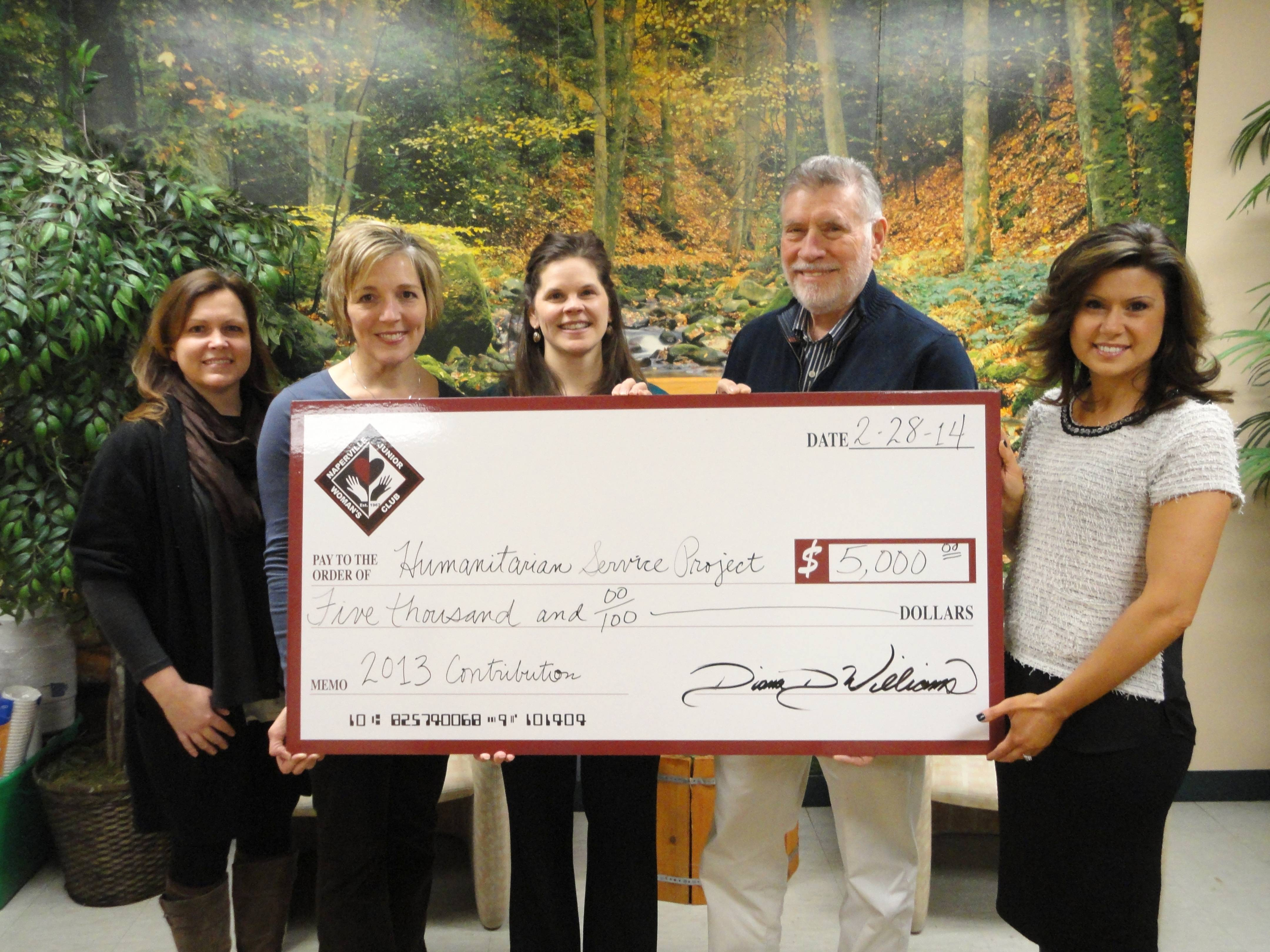 NJWC presenting the check to HSP (From left: Molly Capo, Gina Jones, Kristin Maxwell, Floyd Kettering, and Diana Williams.)Humanitarian Service Project