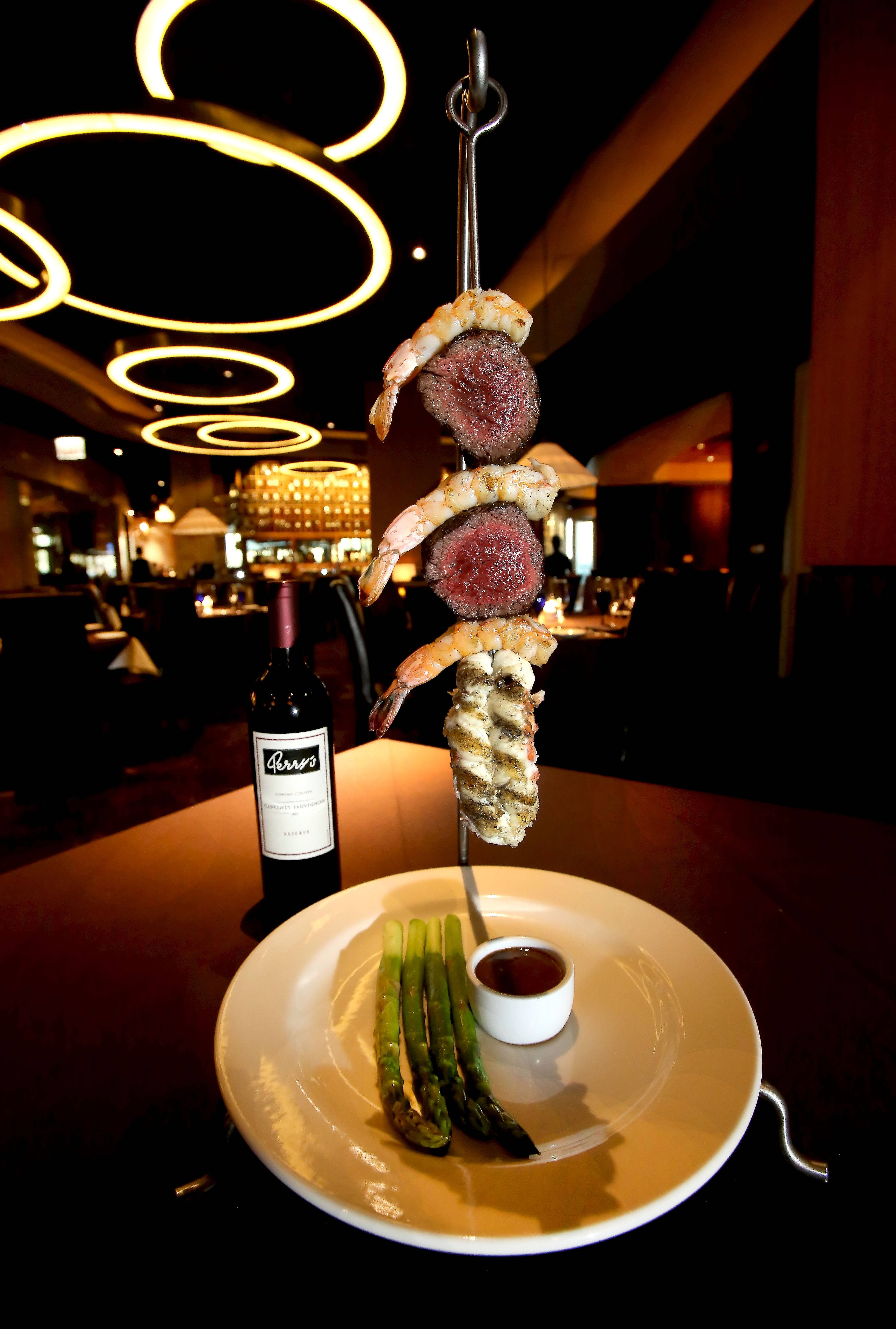 Hunker down for Symphony Kabobs at Perry's Steakhouse and Grille in Oak Brook.