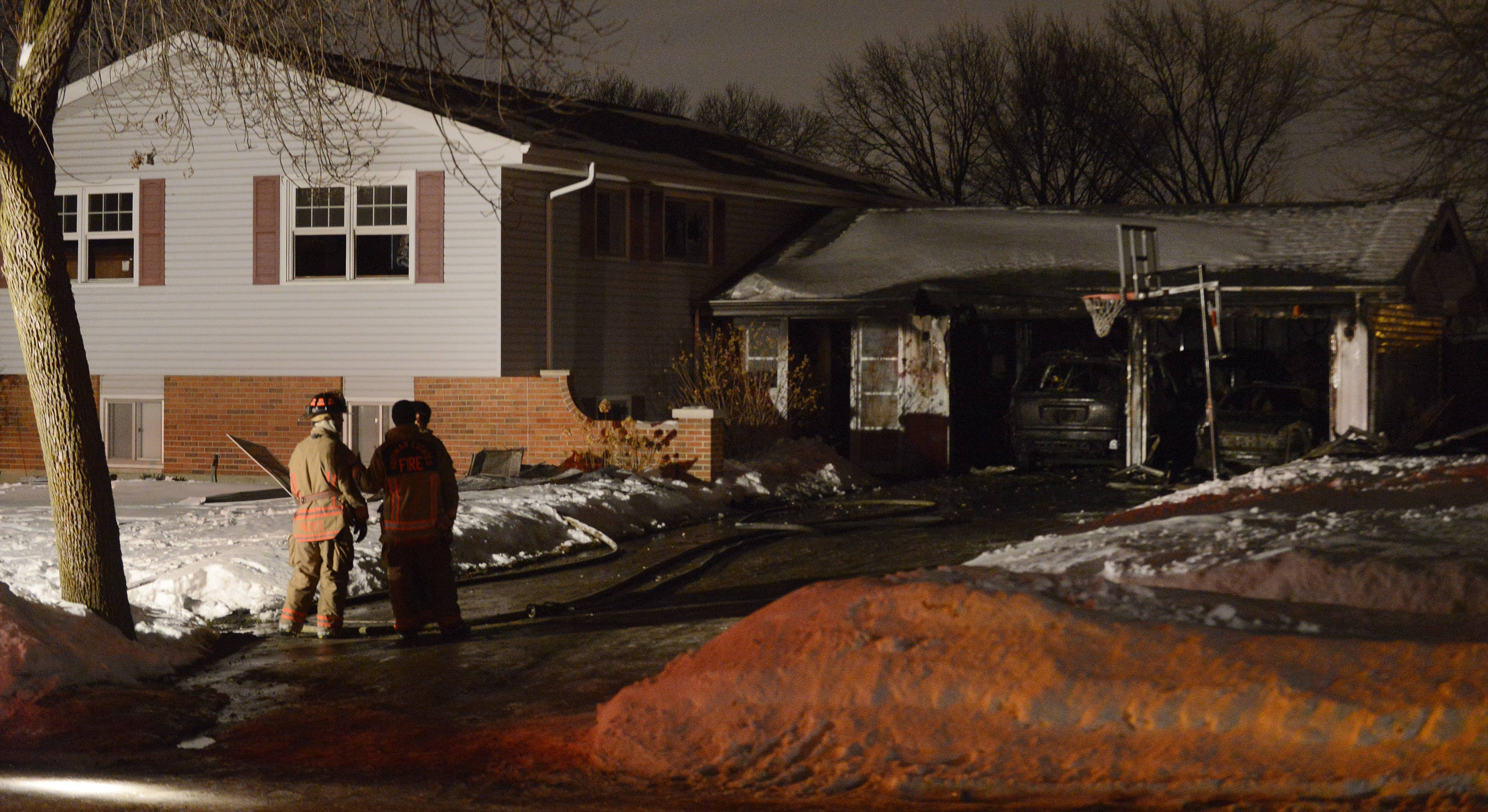 A home on Glen Lane in Hoffman Estates was severely damaged by fire Tuesday evening. Much of the damage included a two-car garage that had two vehicles inside.