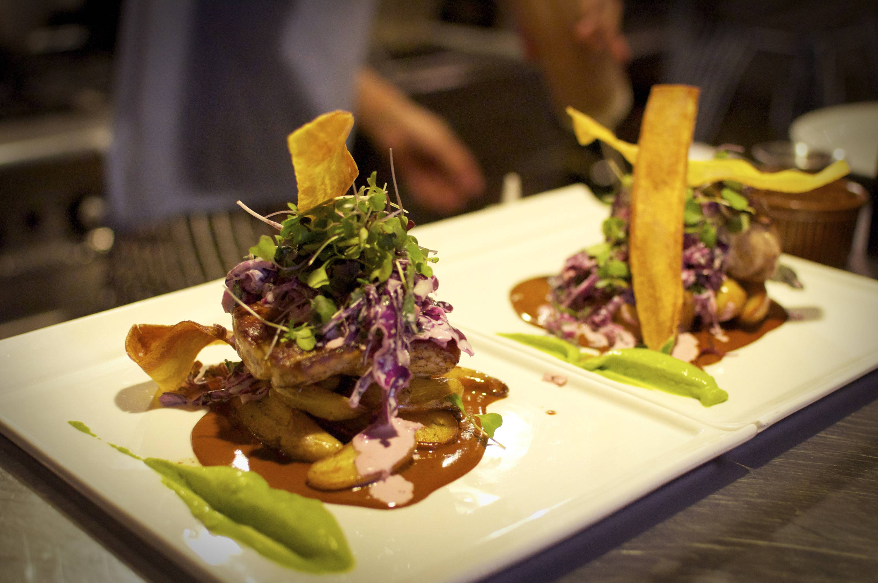 The SC Wahoo comprises avocado purée, smoked fingerlings with a cilantro slaw and crispy plantains at the Admiral in Asheville, N.C.