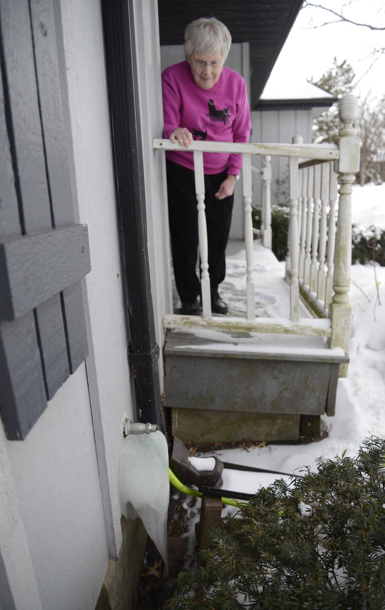 After her water supply pipe froze, the city of Elgin supplied Alice May with free water by extending a garden hose from her neighbor's house. Similar incidents have taken place at 44 businesses and homes from Jan. 6 through March 1.