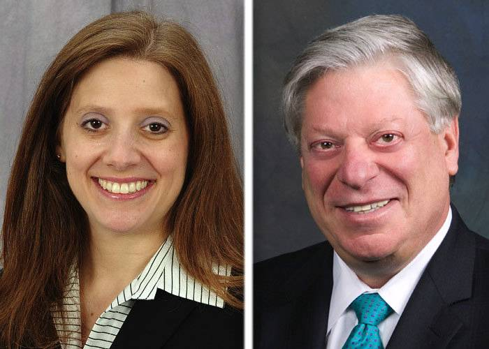 Jeri Atleson, left, and David Stolman, right, are candidates in the race for Lake County Treasurer in the 2014 GOP primary.