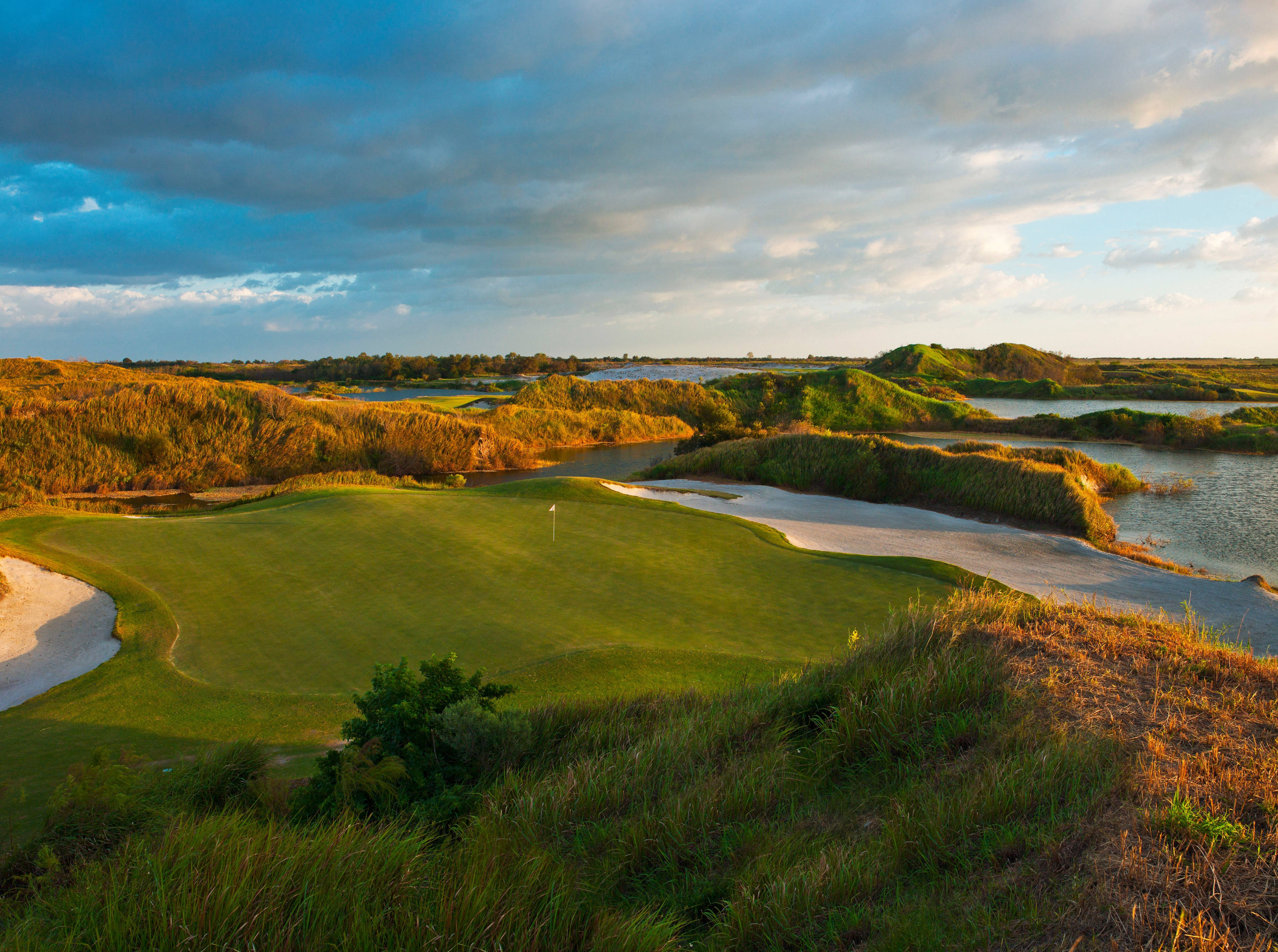The new 16,000-acre luxury property called Streamsong has edgy modern architecture and two public golf courses and is located on what was once a phosphate mine.
