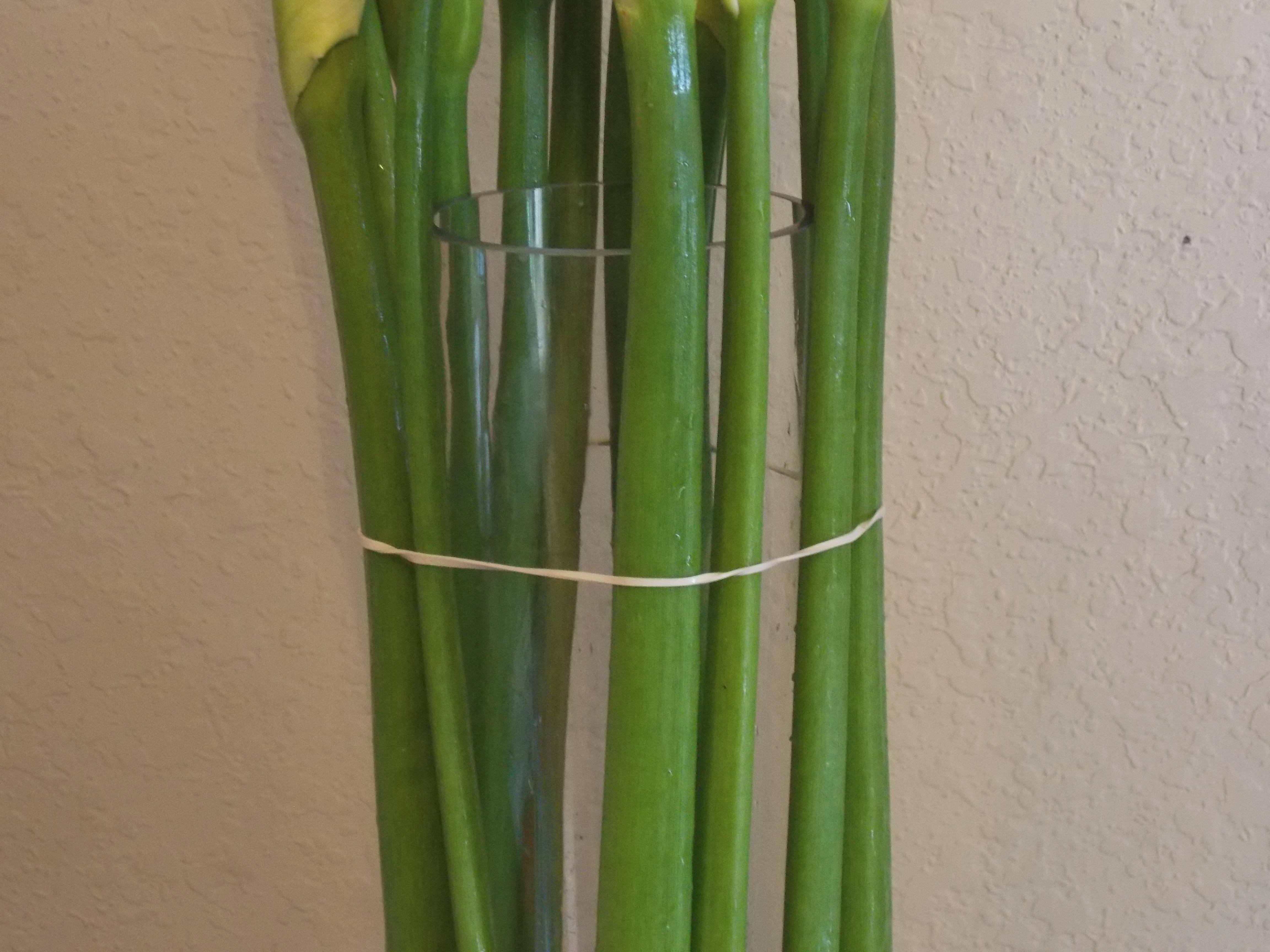 Fasten calla lillies around a clear cylinder with rubber bands.