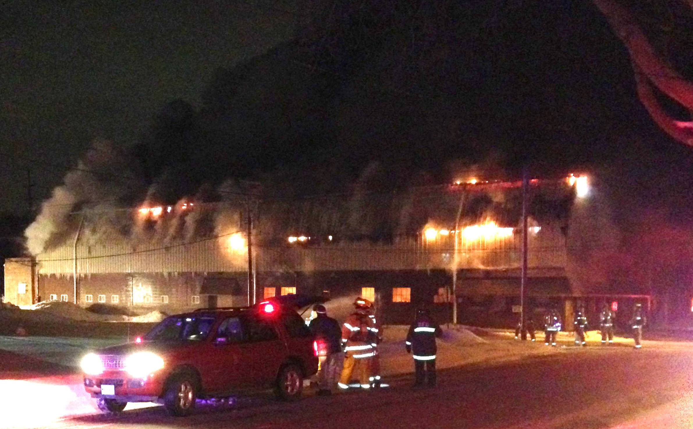 Firefighters respond to a blaze in an industrial building near Mallory Avenue and First Street in Batavia late Wednesday night.