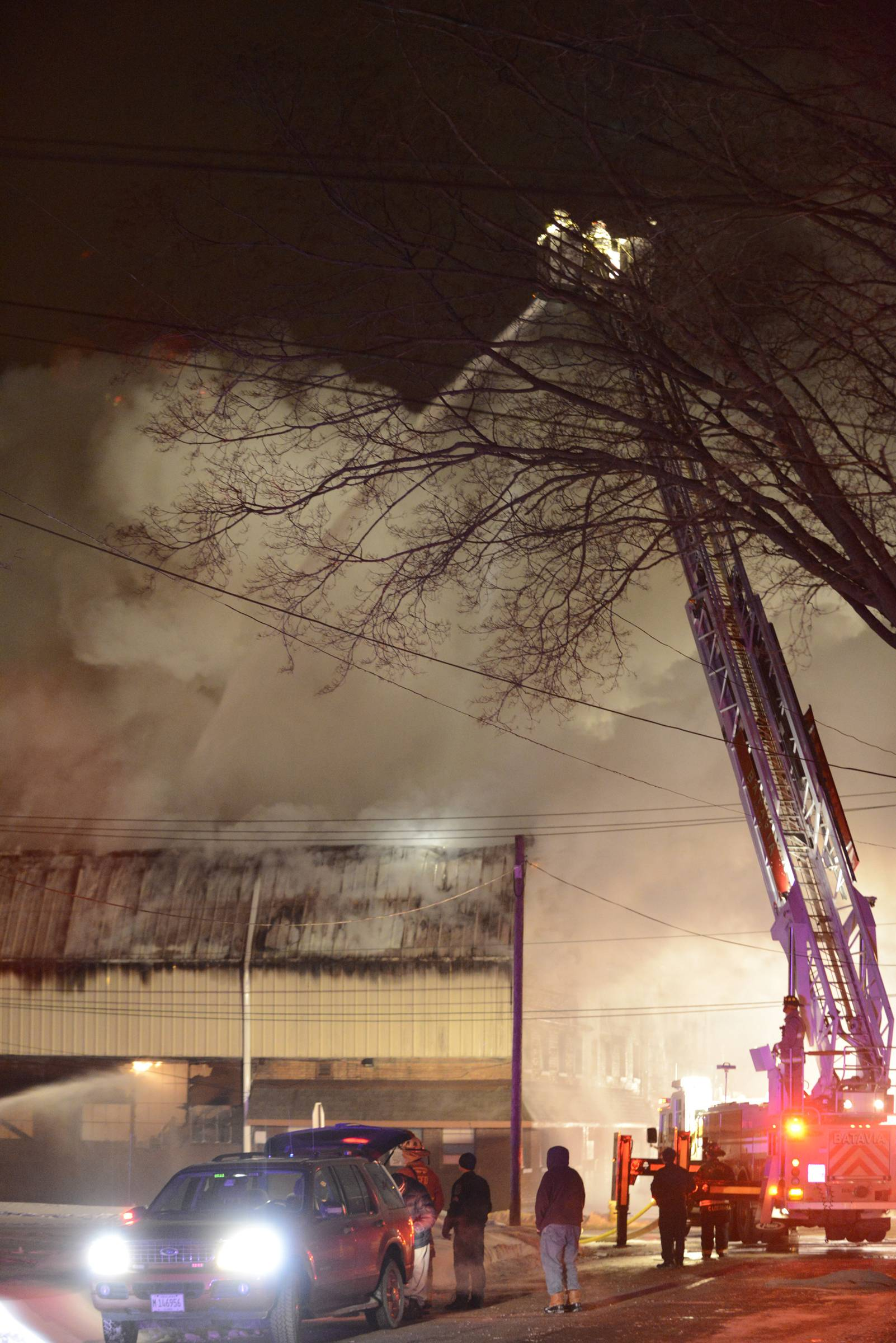Several fire departments work on a fire at a foundry on First Street in Batavia late Wednesday night.
