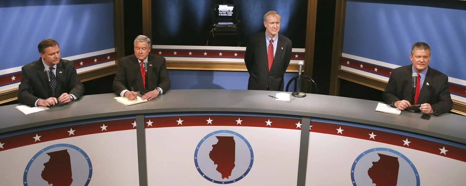 The Republican candidates for governor -- from left, Bill Brady, Kirk Dillard, Bruce Rauner and Dan Rutherford -- prepare to debate Wednesday in Chicago.
