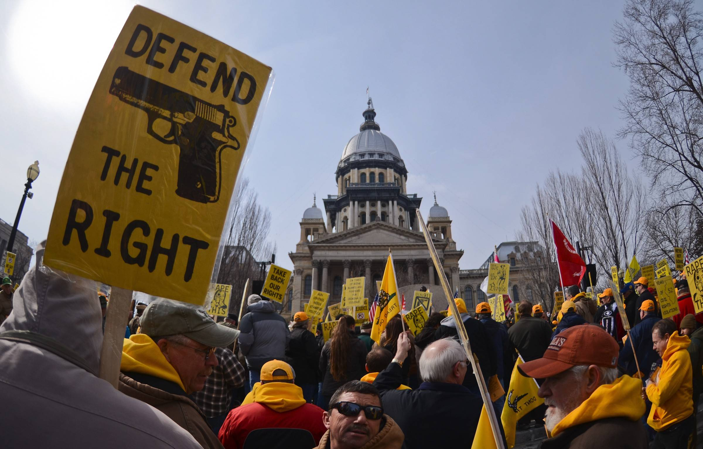 Gun owners rallied at the Illinois Capitol Wednesday, asking lawmakers to loosen concealed carry rules.
