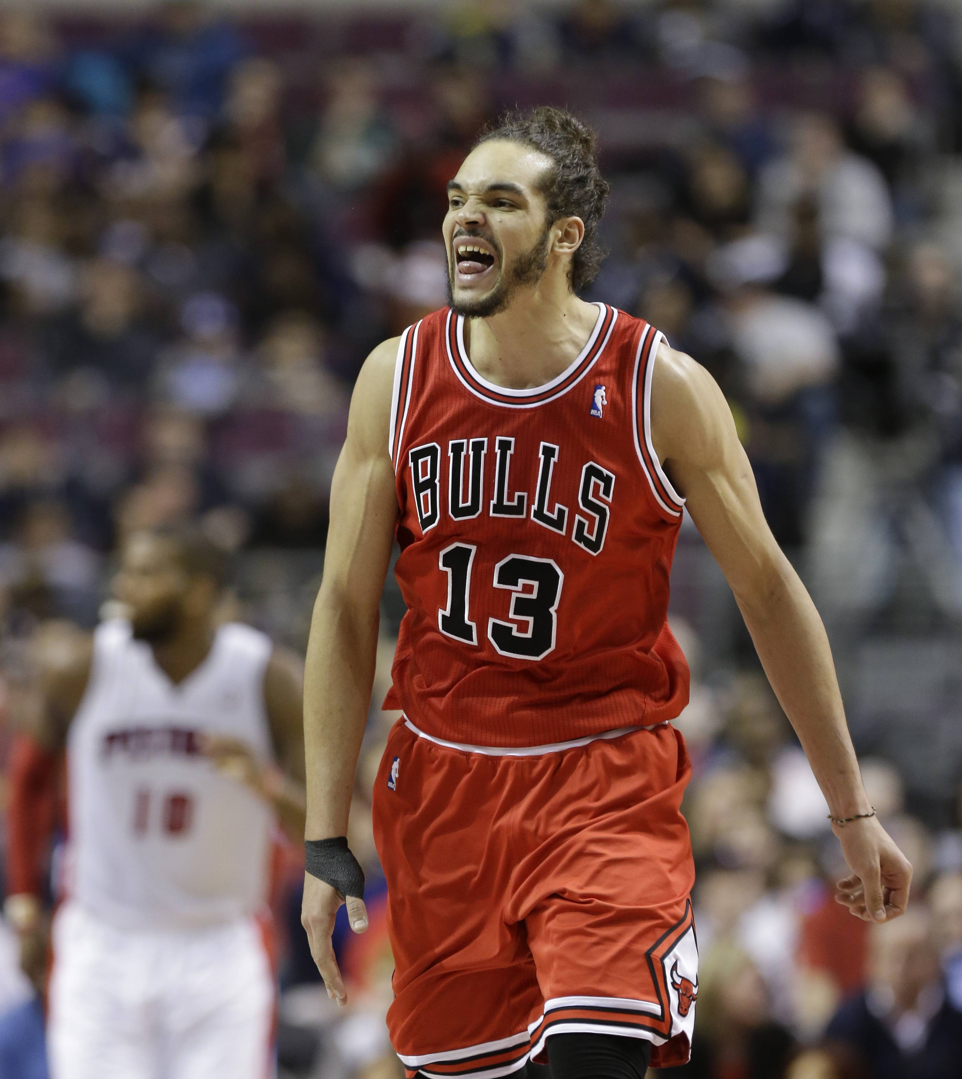Bulls center Joakim Noah reacts after a play during the second half Wednesday night, when he had another triple-double in the victory over the Pistons 105-94.