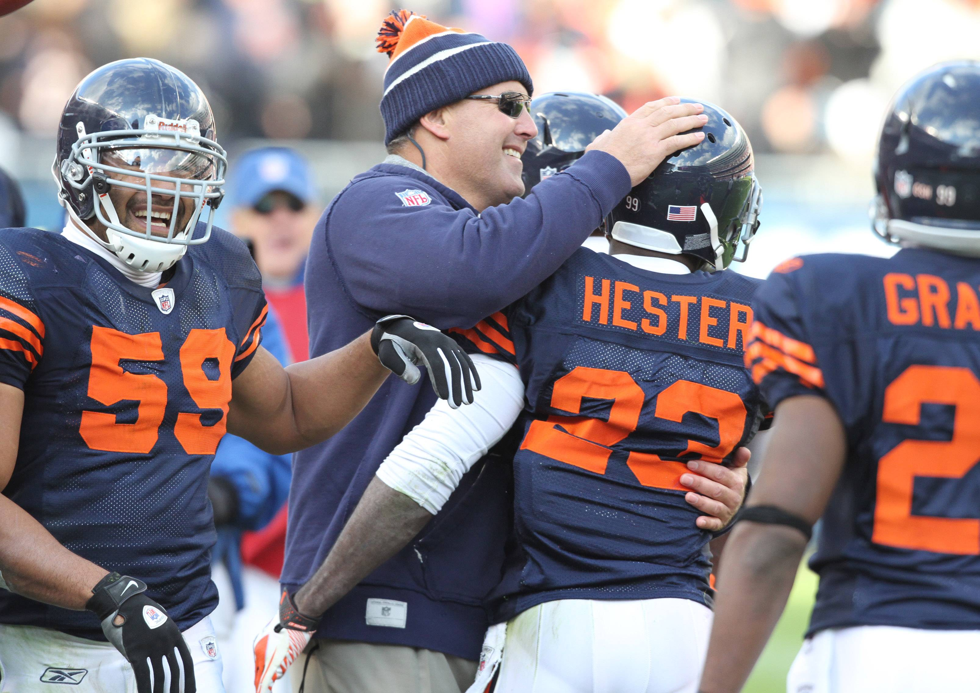 The Bears' Devin Hester gets a hand after picking up big yardage on punt return against Minnesota Vikings in the second half at Soldier Field in Chicago on Sunday, November 14. ¬