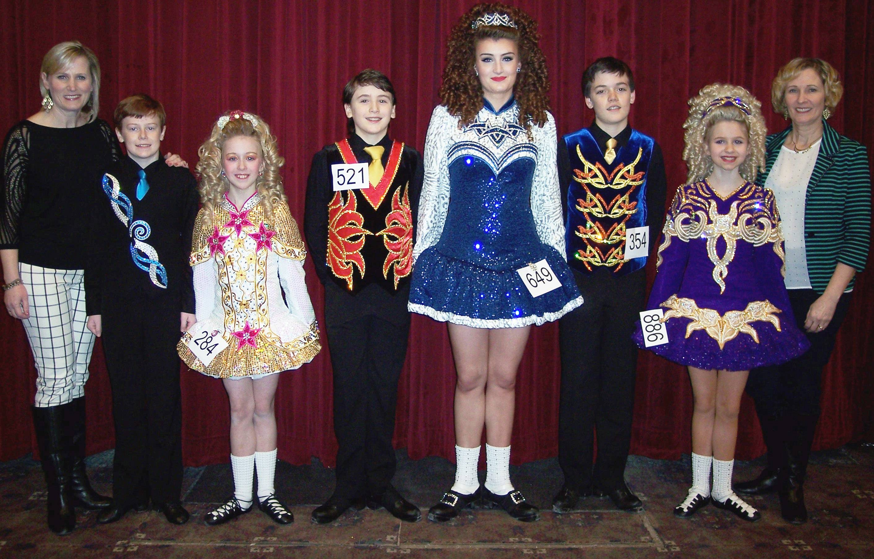 The Dillon-Gavin School of Irish Dance teachers and their six dancers representing North America are, from left: Bernadette Gavin; Patrick Holbrook, u15, Niles; Sarah Conneelly, u12, Arlington Heights; Kristjan Gudmundson, u14, Niles; Lindsey Kelly u21, Niles; Ronan Donahue u15, Park Ridge; Claudia Morrison, u12, Des Plaines; and teacher Maureen Yawger.Dawn Morrison