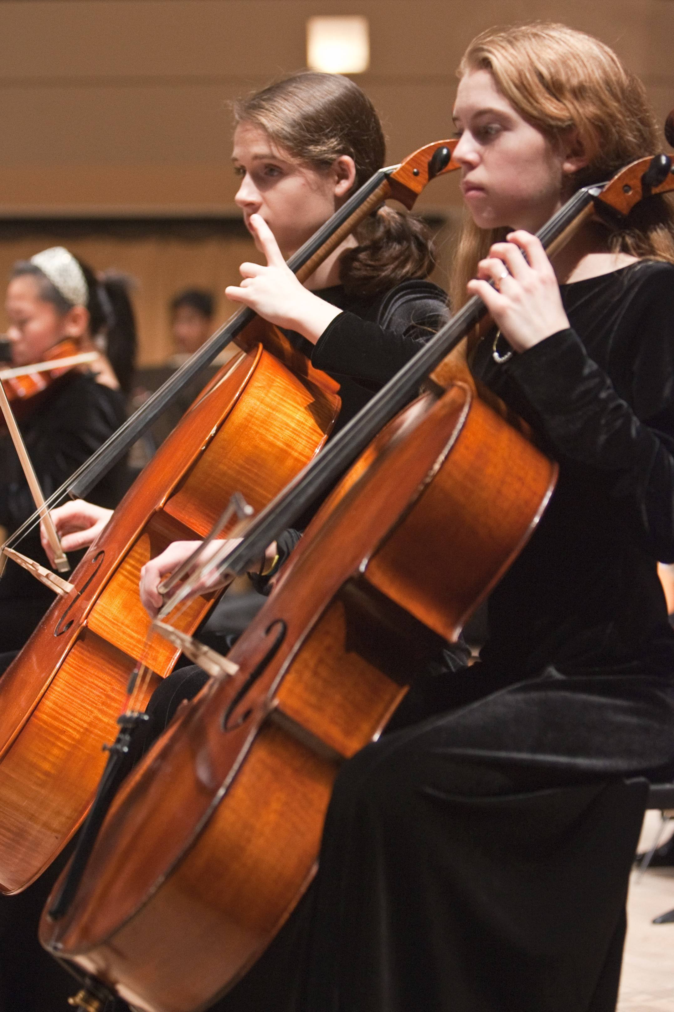 Kendra Standish, right, and Sarah Swiston, middle, play cello with the Youth Symphony of DuPage. The symphony performs three concerts a year, with its next one coming on Sunday, March 9.