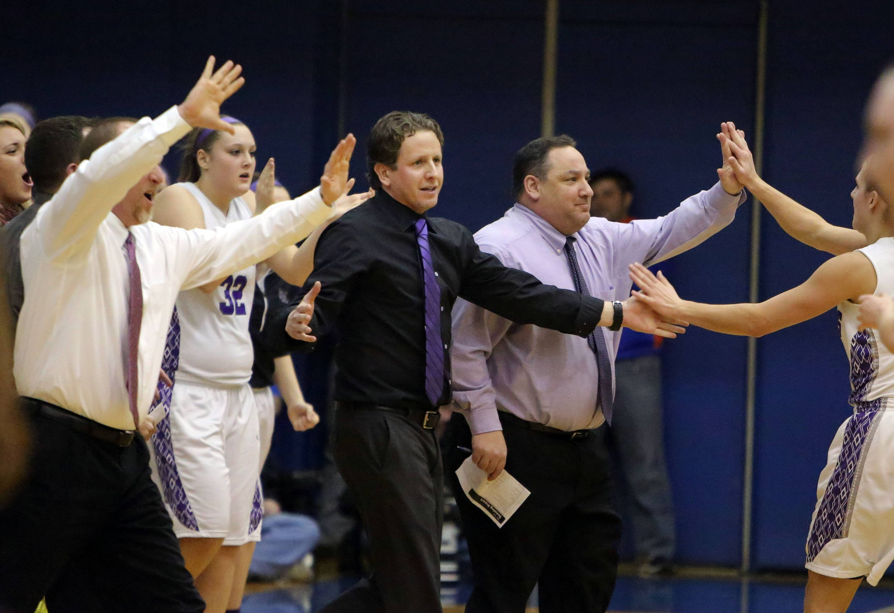 Rolling Meadows coach Ryan Kirkorsky encourages his team during the Class 4A supersectional against New Trier at Hoffman Estates on Monday. The Mustangs meet Geneva in Friday's 6:30 p.m. state semifinals.