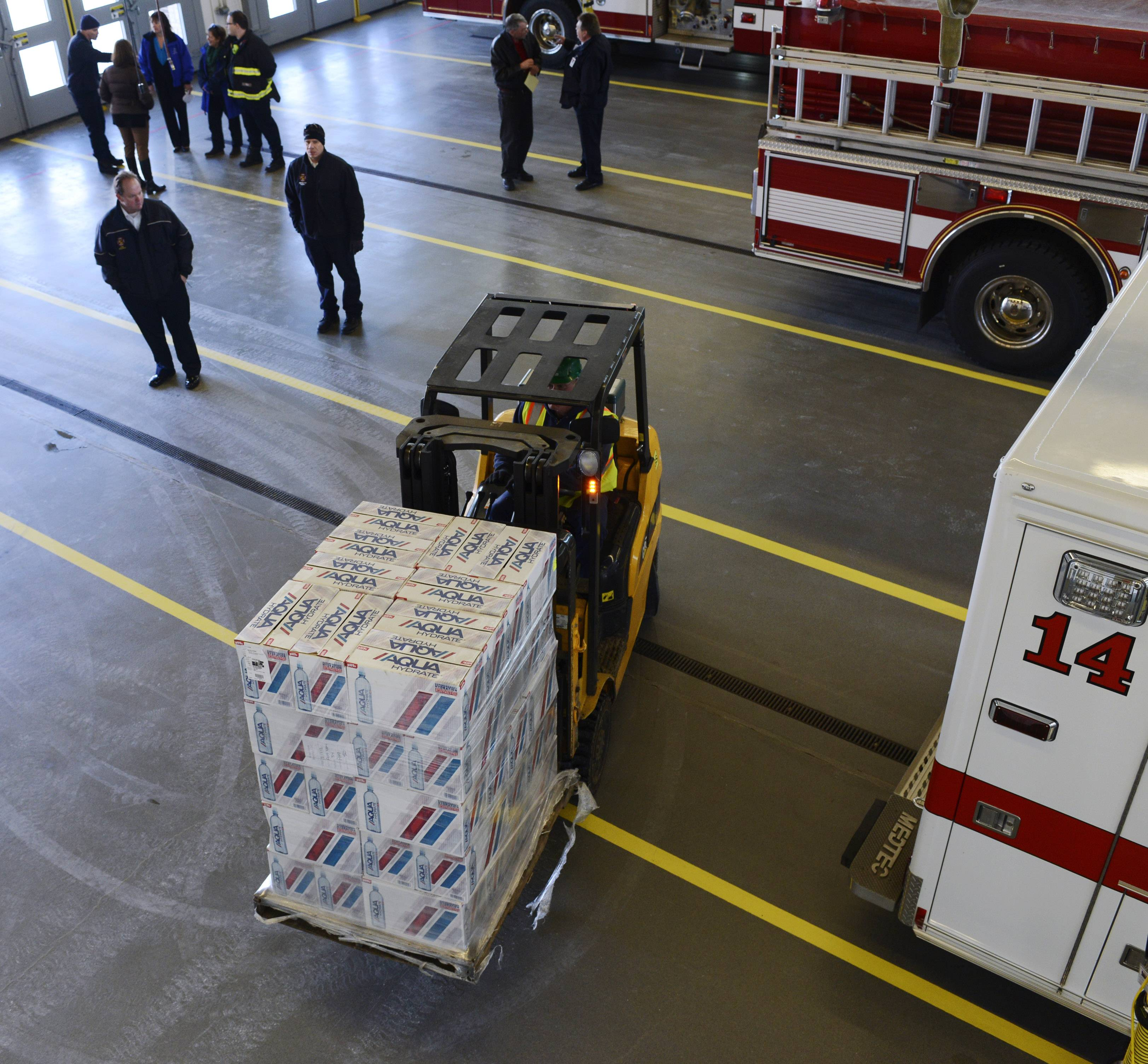 Oklahoma City-based Feed the Children delivered about 25,000 pounds of food and other items Thursday to Mount Prospect Fire Station 14 on Kensington Road. The donation will benefit more than 400 struggling families in the village.