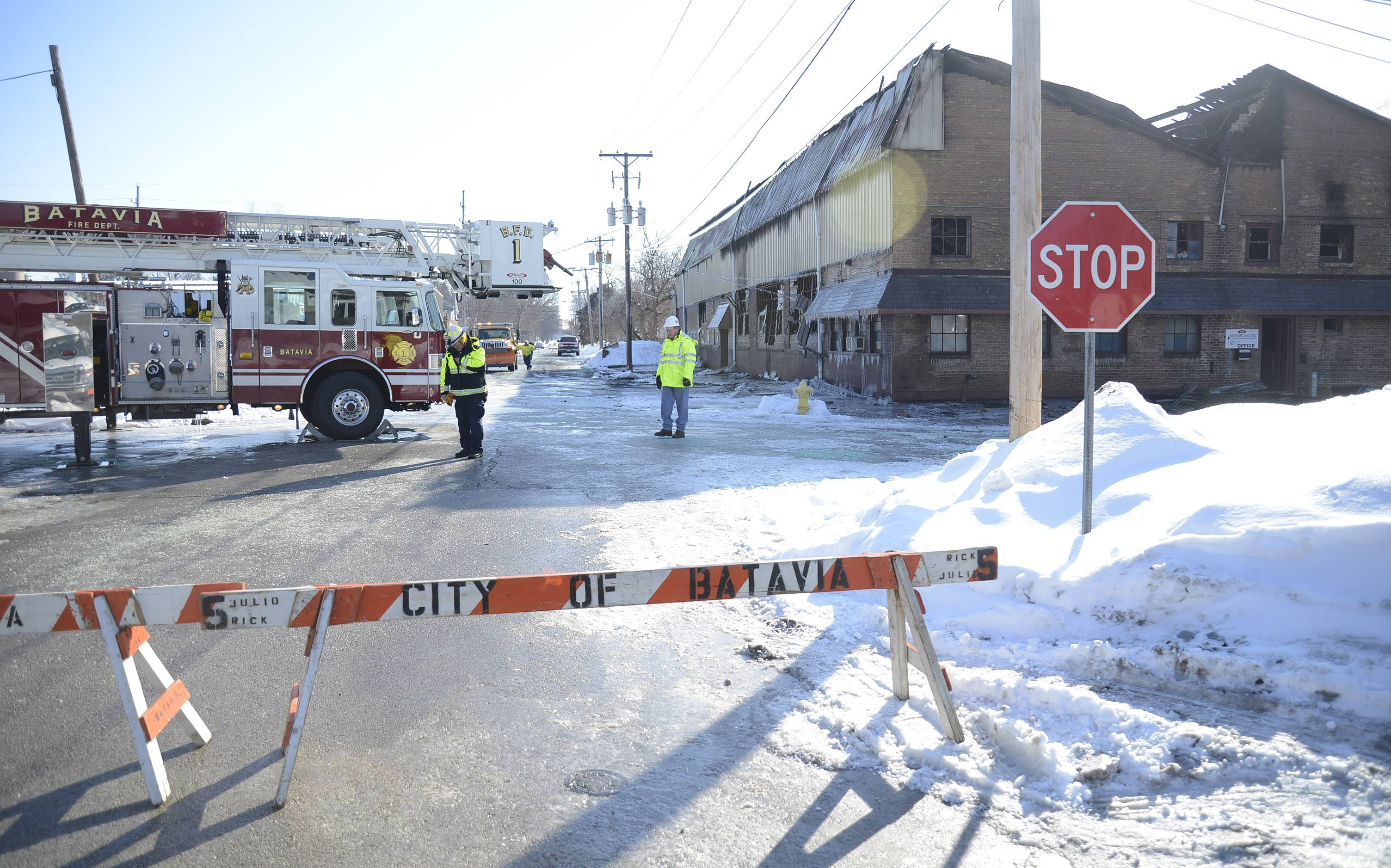 The Batavia Fire Department and Kane County Fire Investigation Task Force were at Master Cast Thursday morning after a fire took the building the previous night.