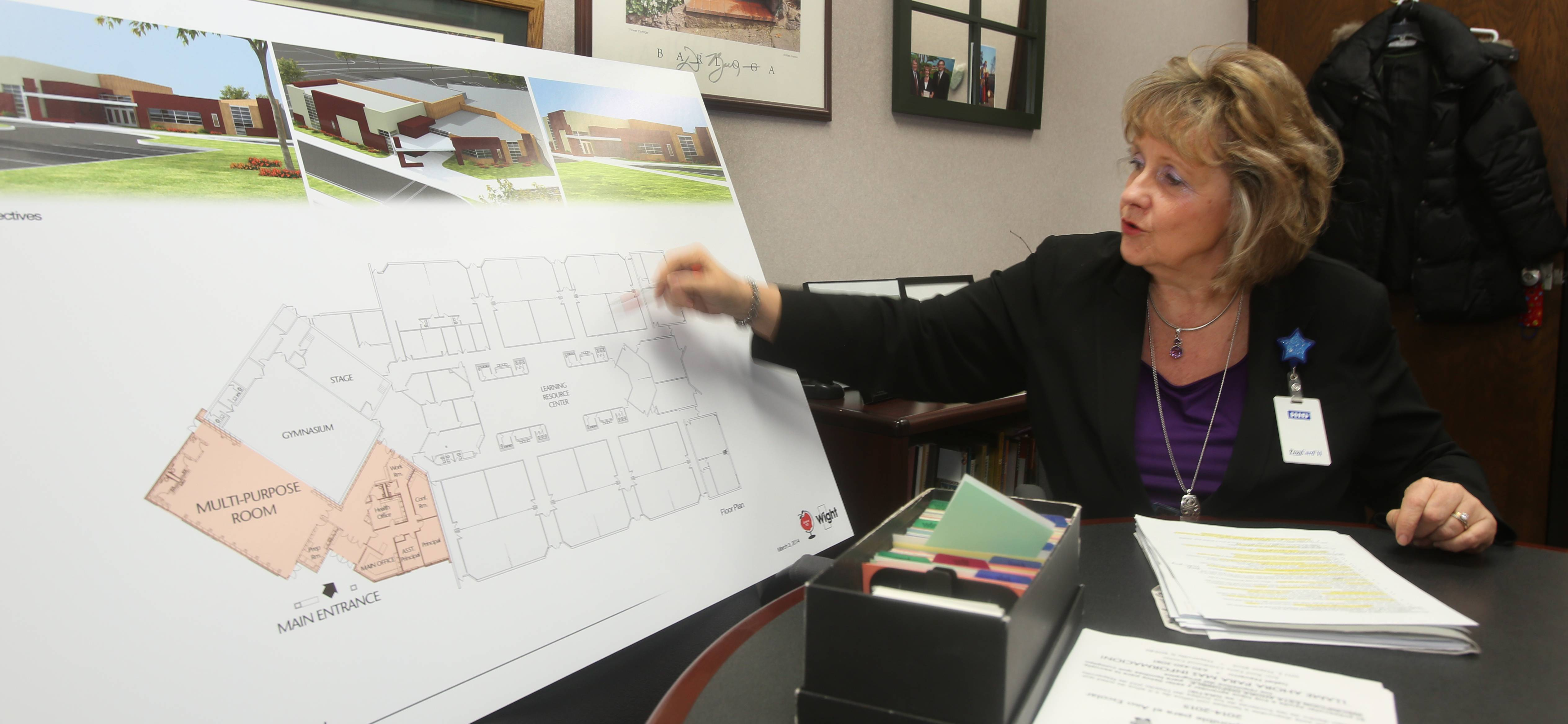 Karen Currier, principal of Steeple Run Elementary in Naperville Unit District 203, says a $2.7 million addition soon to built will give the school more flexible learning spaces for small group instruction. The construction project will add a new multipurpose room, entrance area and offices.