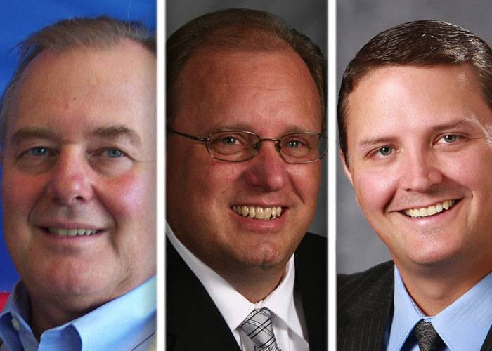 John Jung Jr., from left, Michael Rein and Zane Seipler are candidates for McHenry County Board District 5.