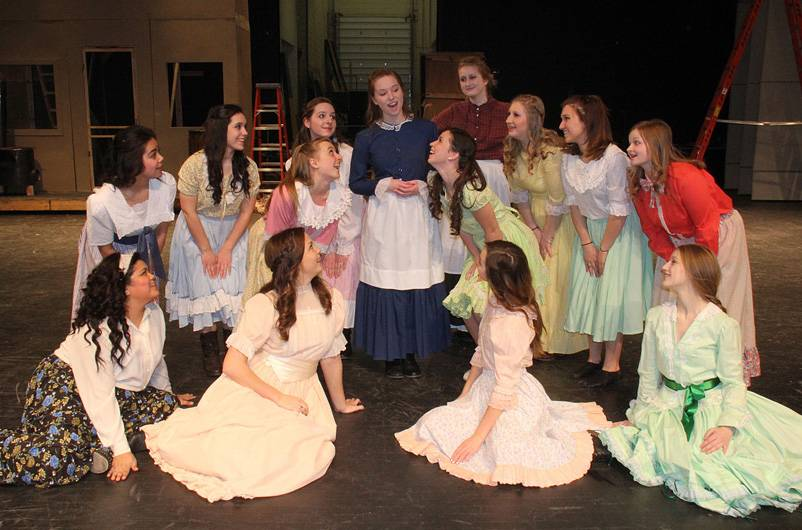 """Oklahoma"" cast members include, back row, from left, Bradley Smith as Carnes, Daniel Mikhail as Ali, Jim Chrouser playing Jud, Justin Santostefano as Will; front row, from left, Joseph Beaty as Curly, Maddie Hayes as Laurey and Grace Comerford as Aunt Eller."