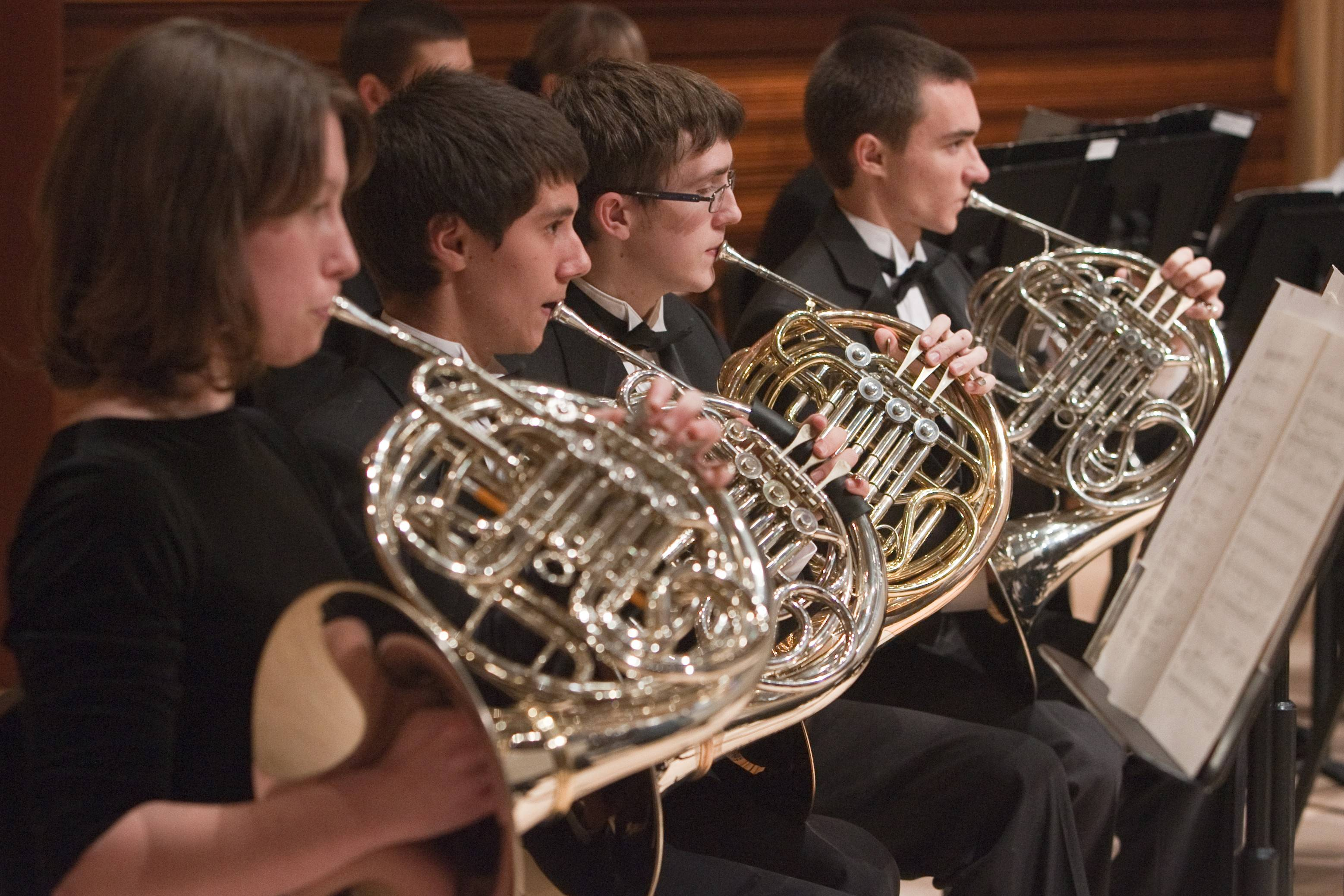 Playing the French horn with the Youth Symphony of DuPage are, from left, Sydney Lundell, Eddie Sailer, Matthew Nelson and Harris Jordan. The group is celebrating its 50th anniversary this year.
