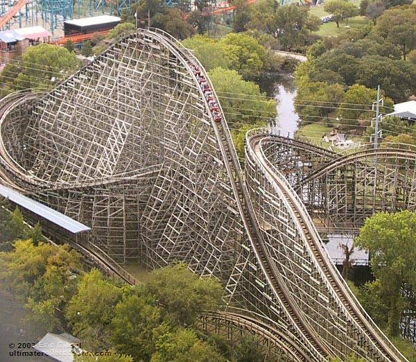 The Texas Giant roller coaster in Texas.