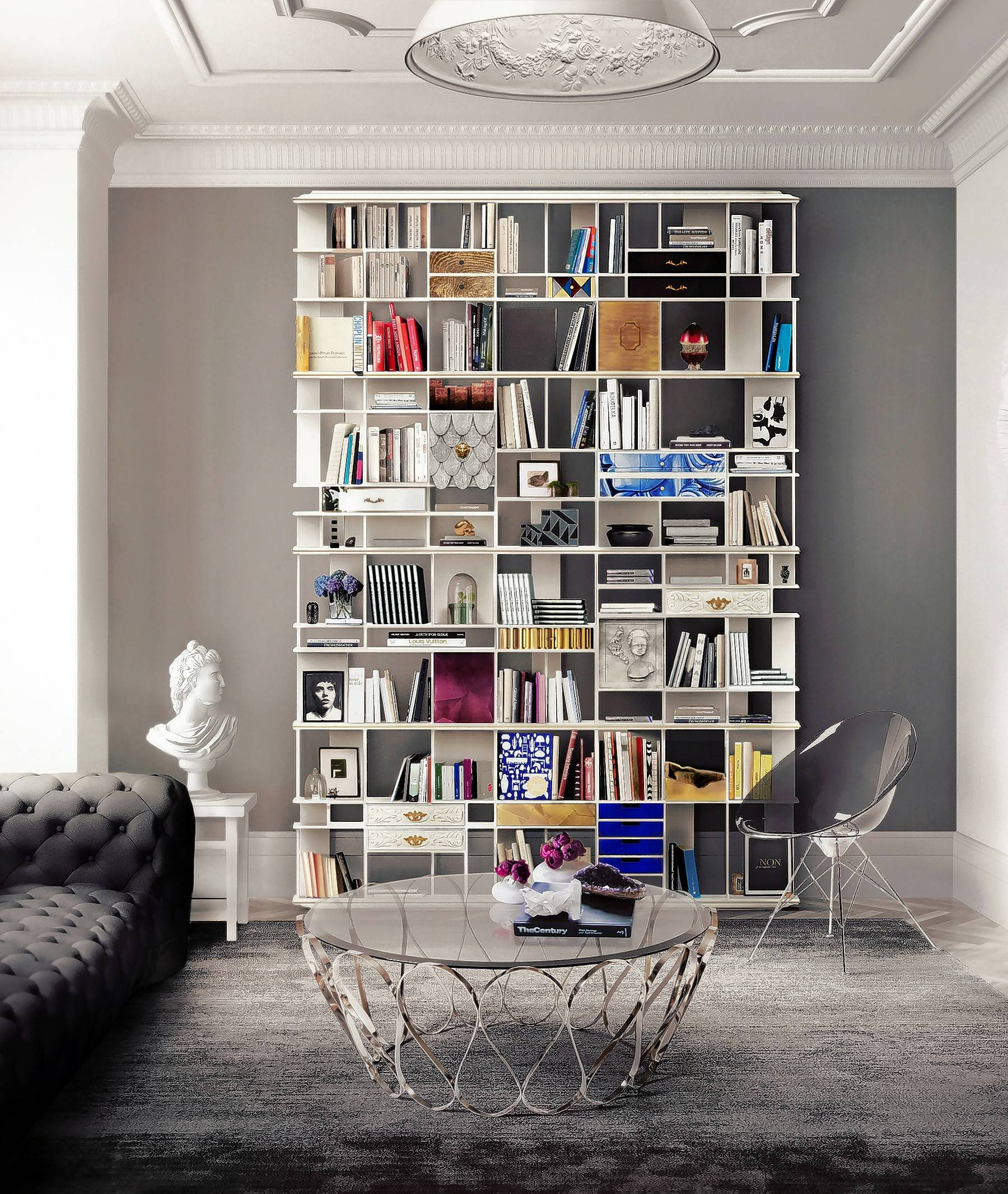 In this modern, Italian-style shelf unit, we see how books, small photo albums, tiny objects and picture frames can create one huge wall of rhythm.