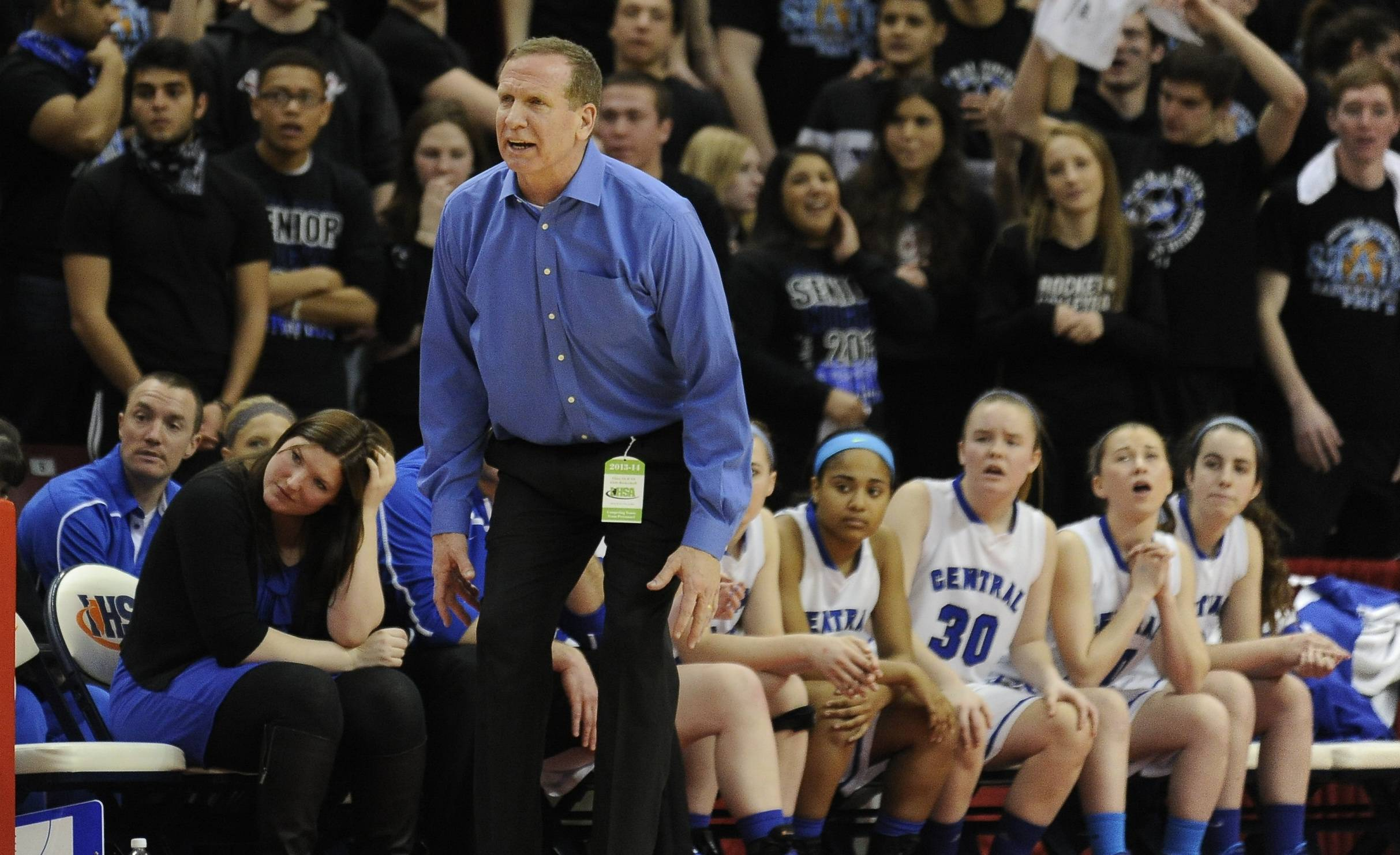 Burlington Central coach Mark Smith directs the Rockets Friday against Montini in the Class 3A state semifinals at Redbird Arena in Normal.