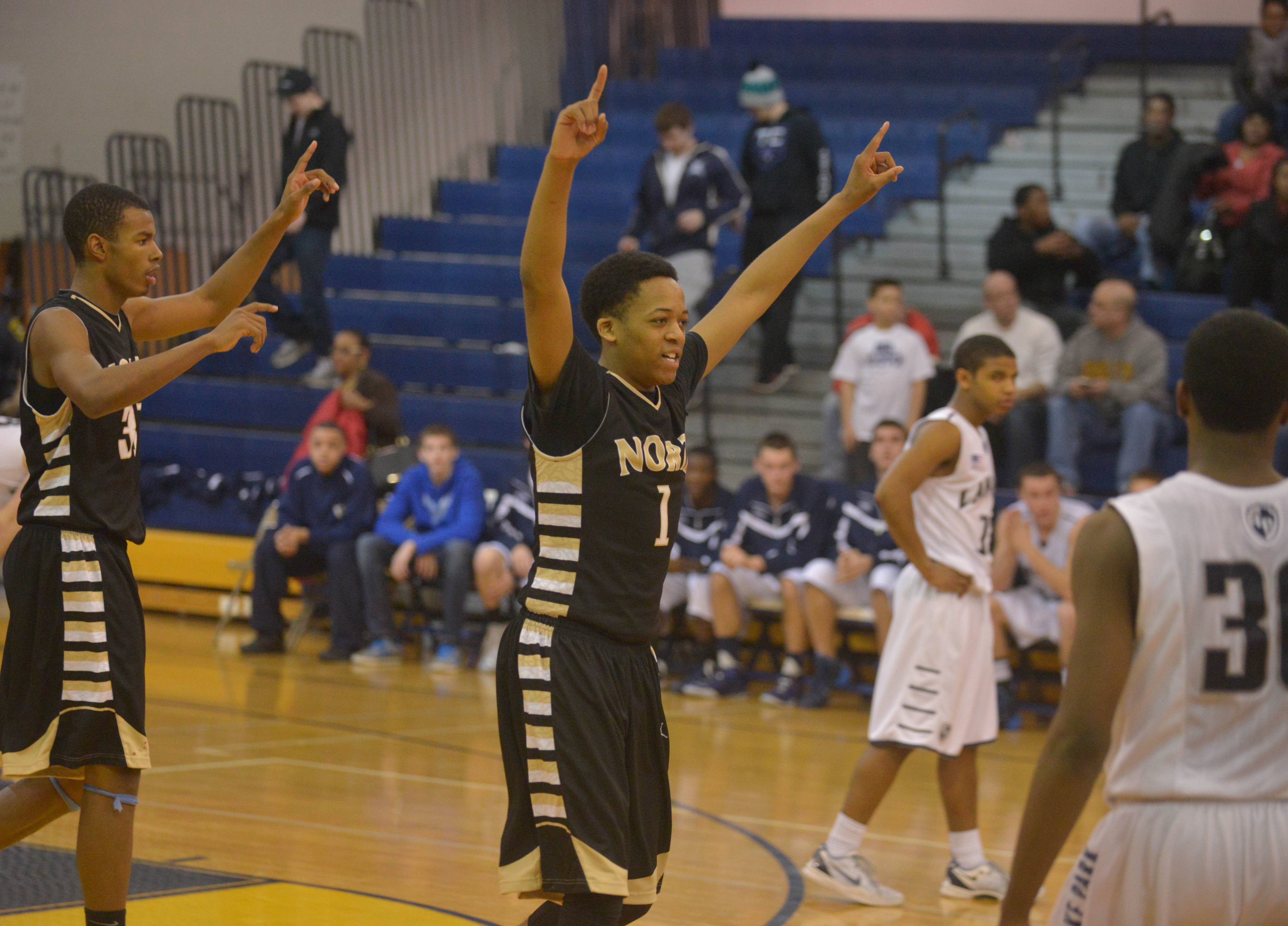 Jeremiah Fleming of Glenbard North celebrates.