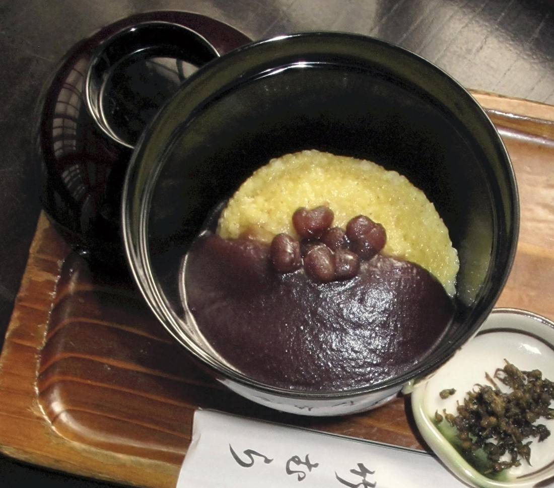 A bowl of awa-zenzai, an on top of steamed awa millet, is served at a restaurant in Tokyo.