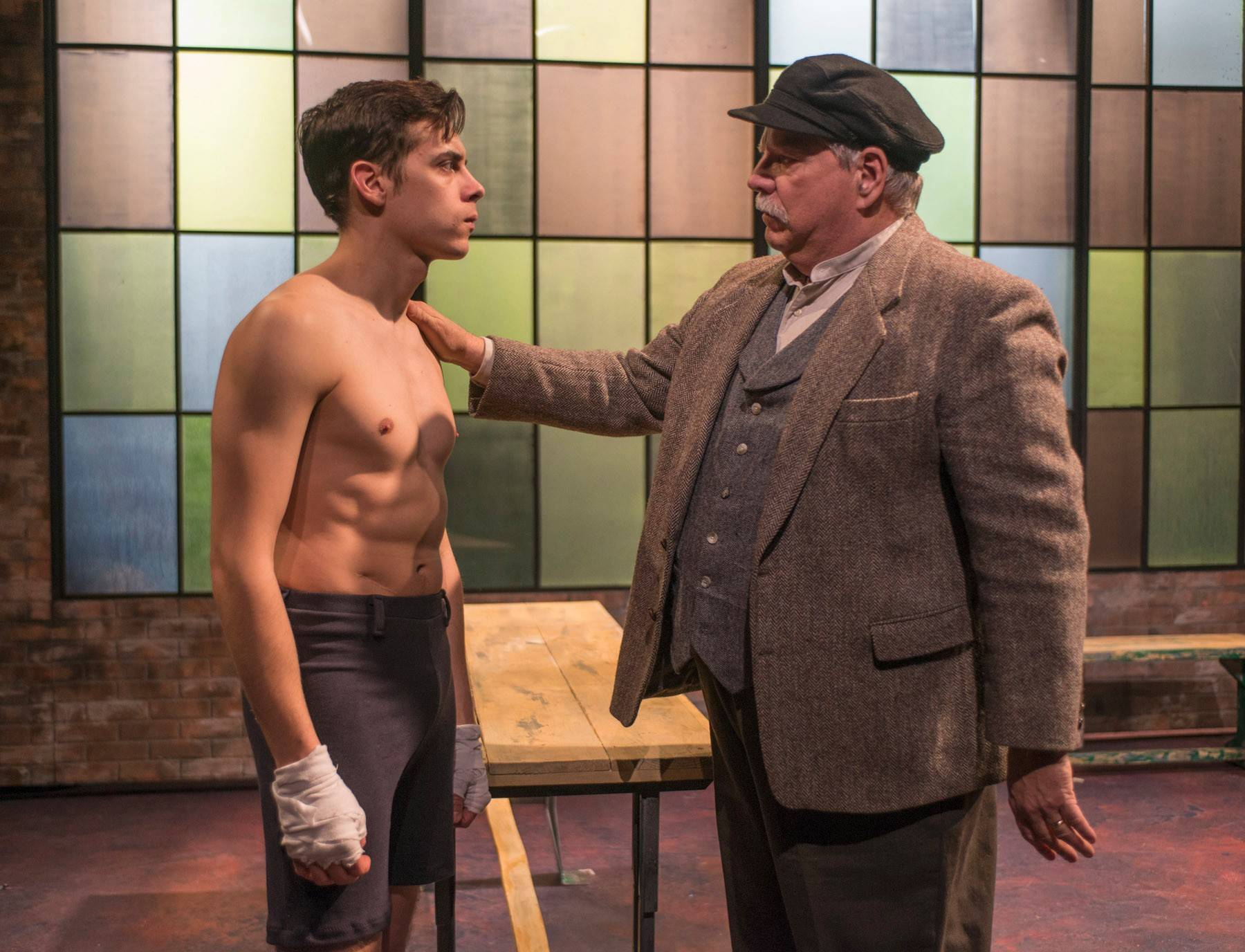 "Joe (Nate Santana) seeks a blessing from his father (Norm Woodel), who can't bring himself to bestow it, in Griffin Theatre's revival of Clifford Odets' 1937 classic ""Golden Boy."""