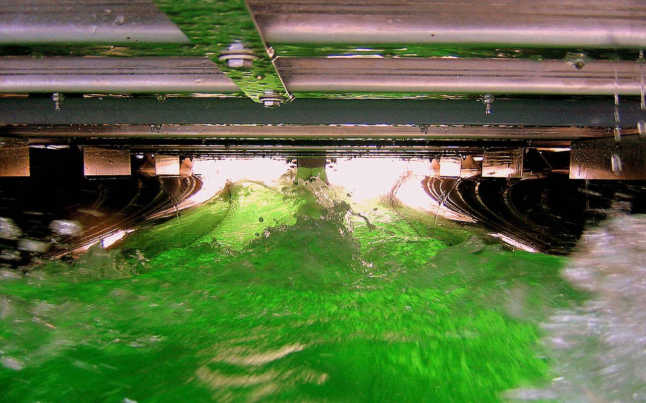 A look at Green Bay underneath a pontoon boat that is cruising along the surface on August 6th, 2007.