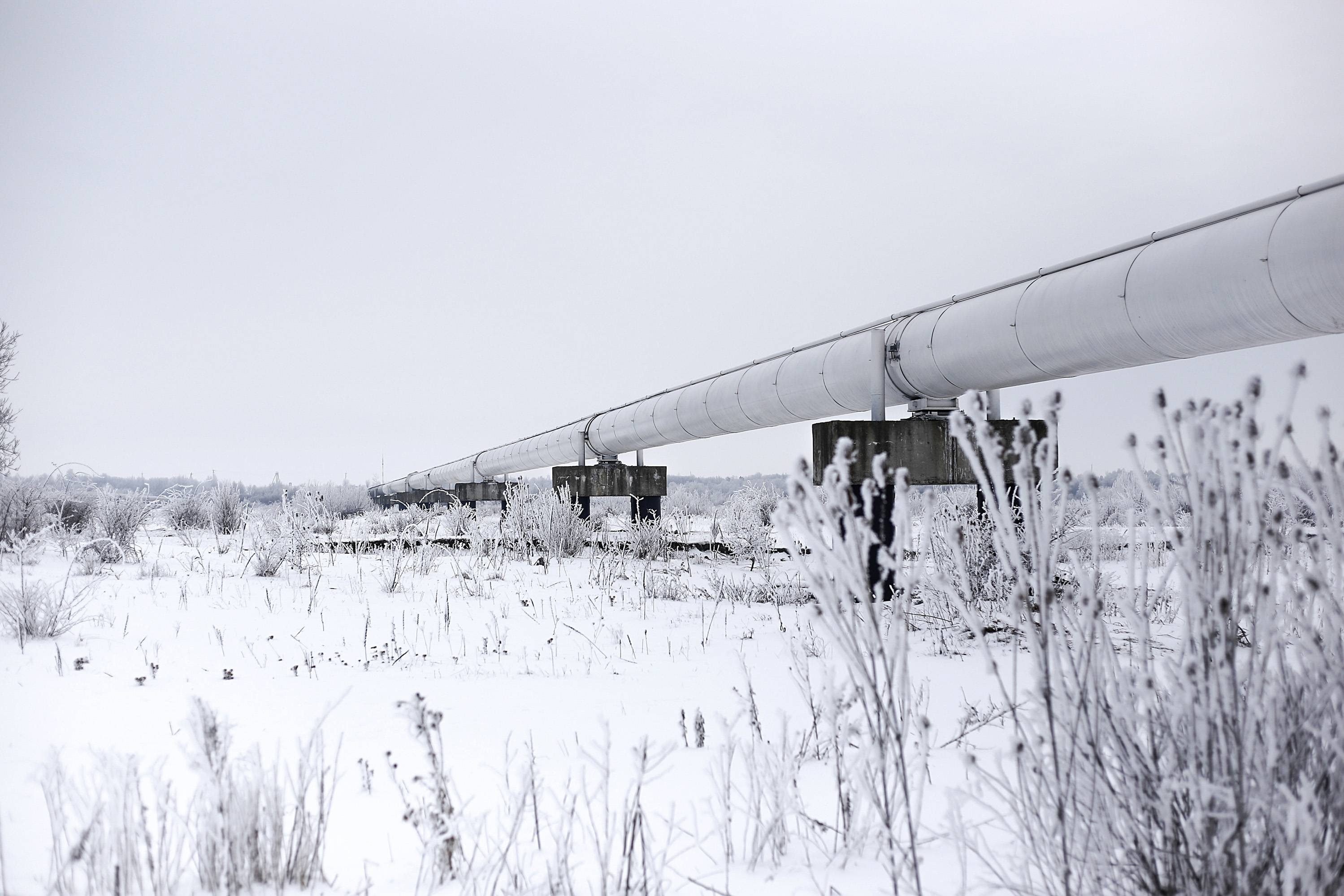 A section of the Urengoy-Pomary-Uzhgorod pipeline, also known as the West-Siberian Pipeline, or the Trans-Siberian Pipeline -- Russia's main natural gas export pipeline -- stands near Ivano-Frankvisk, Ukraine.