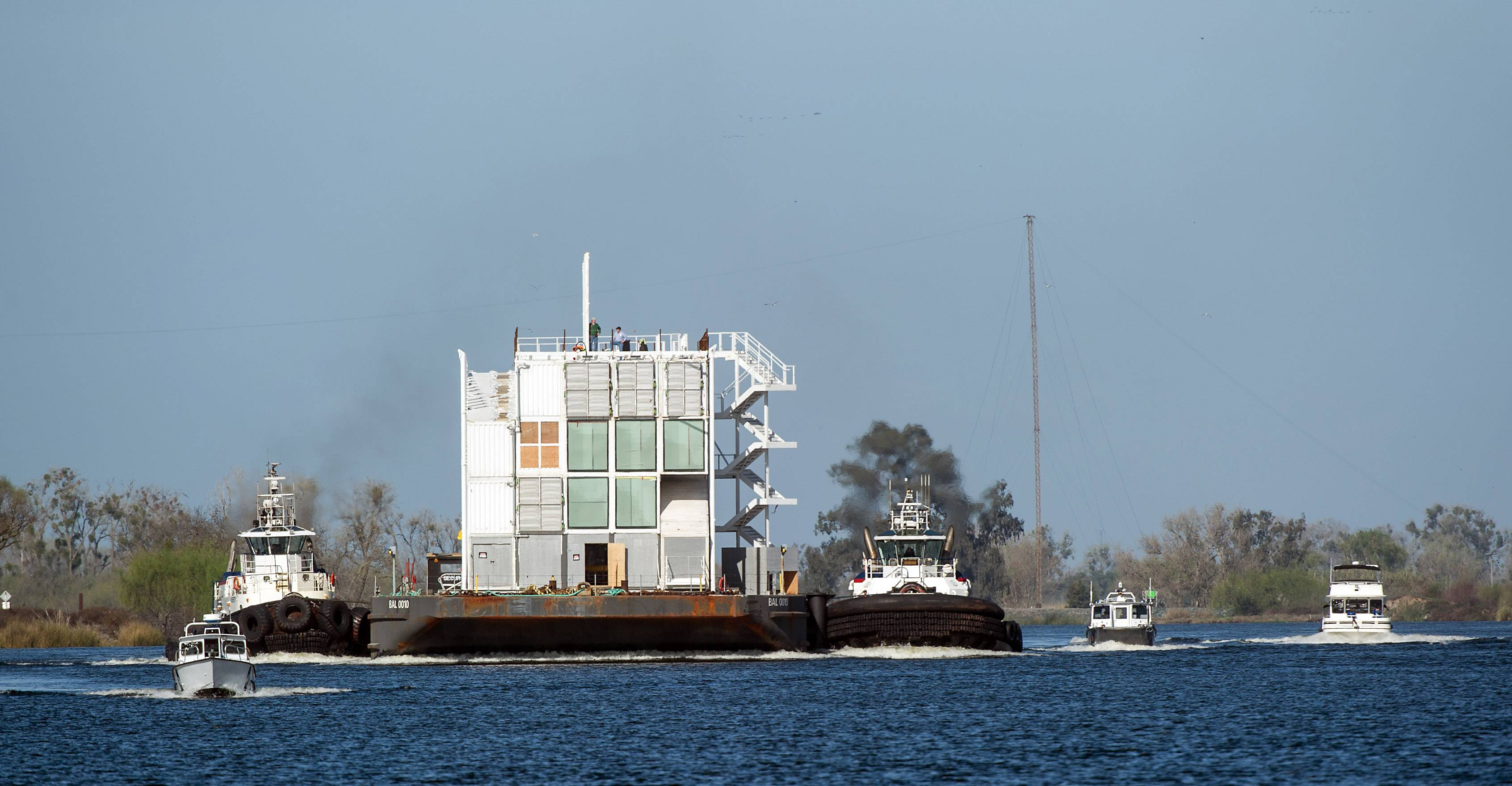 The Google barge is seen in a channel west of the Port of Stockton Thursday, March 6, 2014, in Stockton, Calif. Google's mystery barge has arrived at its new home in the California delta after the Internet company was ordered to move it from San Francisco.
