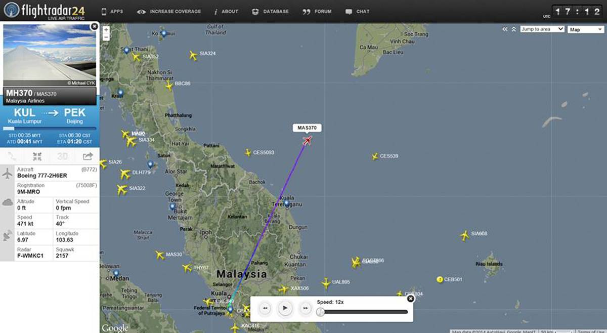 This screengrab from flightradar24.com shows the last reported position of Malaysian Airlines flight MH370, Friday night March 7, 2014. The Boeing 777-200 carrying 239 people lost contact over the South China Sea on a flight from Kuala Lumpur to Beijing, and international aviation authorities still hadn't located the jetliner several hours later.