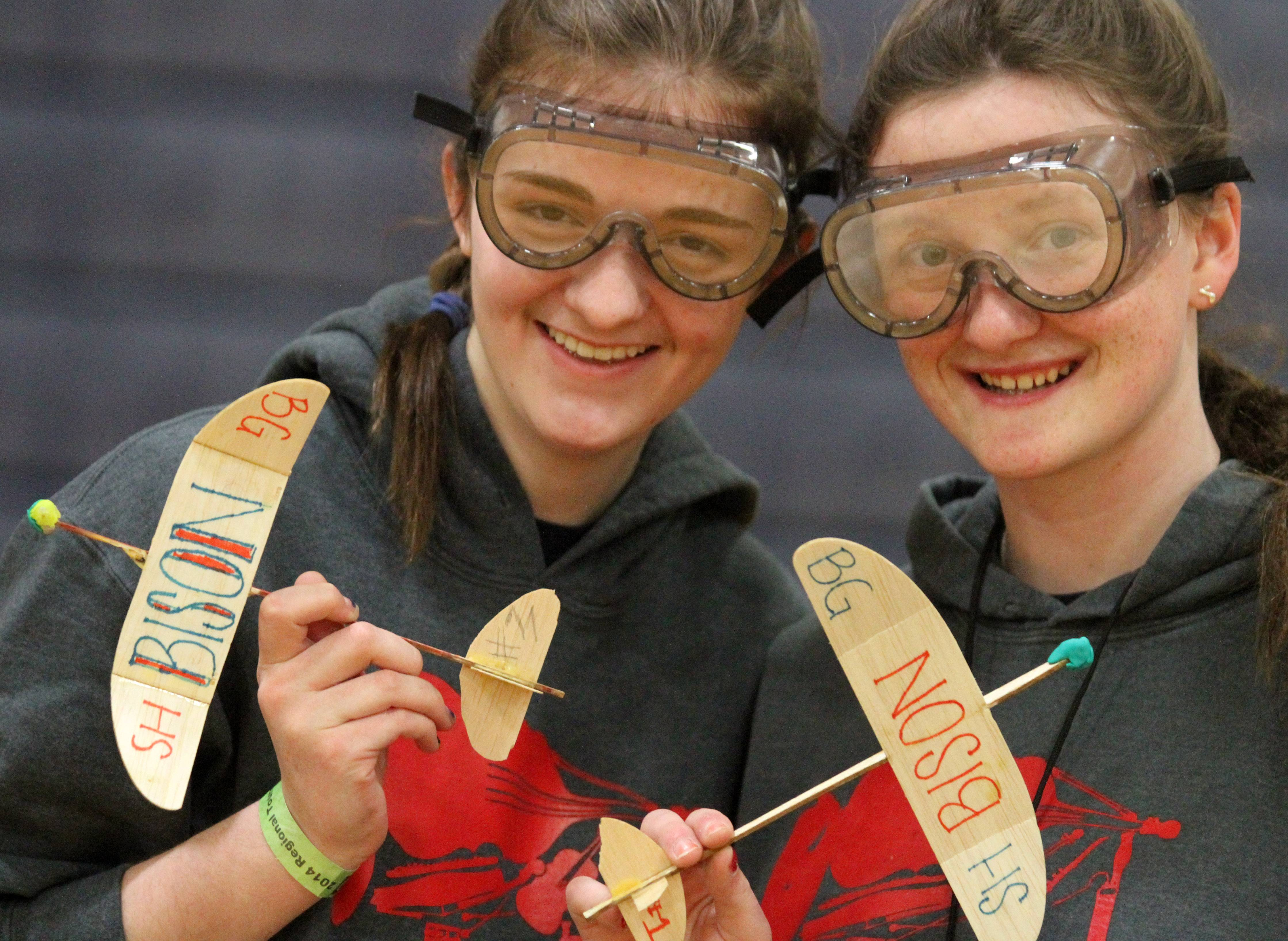 Buffalo Grove High School juniors Elizabeth Daulton and Erin Beugger competed with their elastic-launched, glider-c planes at the Grayslake Regional Science Olympiad on Saturday at College of Lake County. Students came from middle and high schools from the Northwest suburbs.