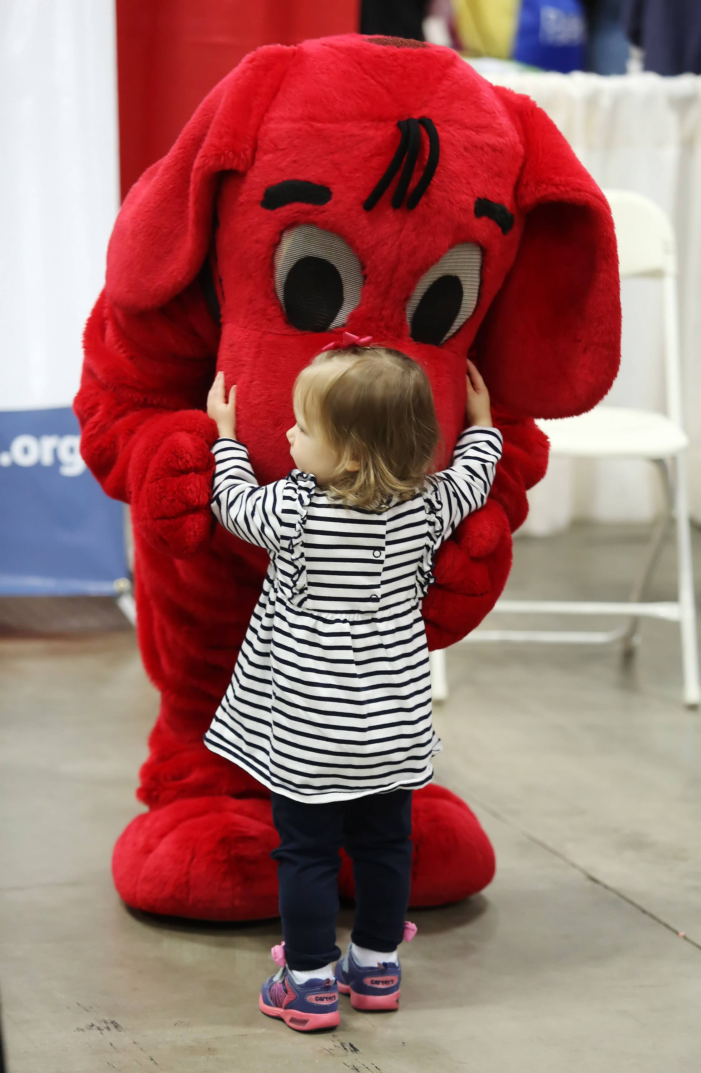 Eighteen-month-old Serena Ruggio of Palos Heights hugs Clifford the Big Red Dog at the Lakeshore Public Television booth Sunday during the 2014 Chicagoland Kids Expo & Fun Fair at the Schaumburg Convention Center. Bright Start College Savings sponsored the 12th annual event that featured 100 vendors, amusement rides, video games and family-friendly entertainment.