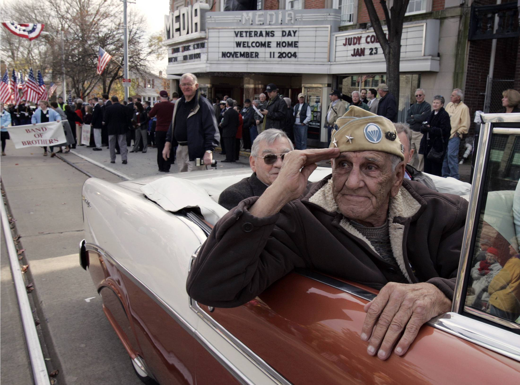 "William ""Wild Bill"" Guarnere, seen here in 2004, was one of the World War II veterans whose exploits were dramatized in the TV miniseries ""Band of Brothers."" He died Sunday at the age of 90."
