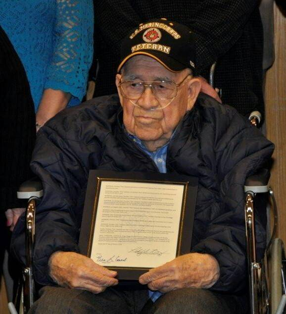 "Timoteo ""Tim"" Vasquez served as a marine in World War II."