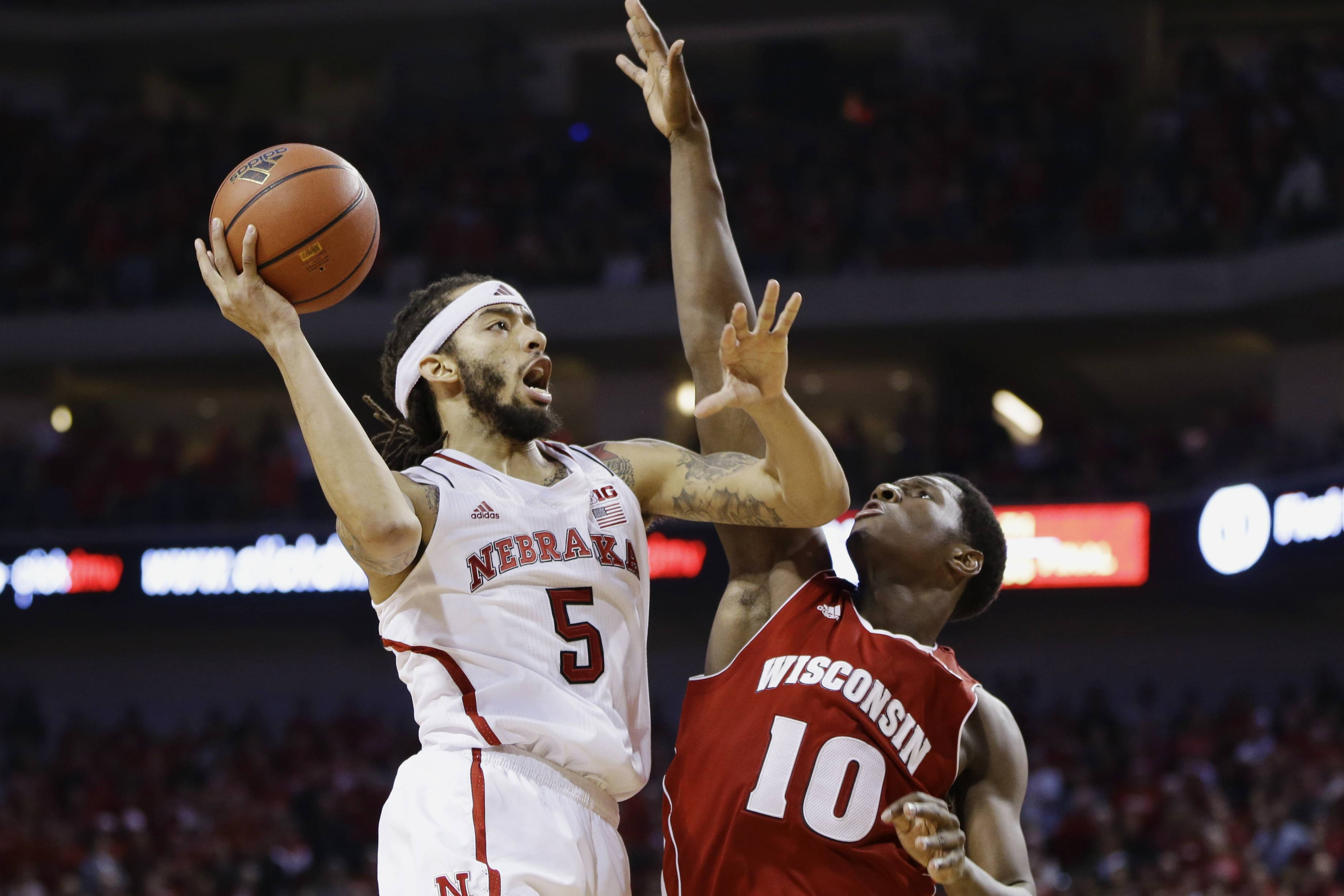 Nebraska's Terran Petteway (5) shoots over Wisconsin's Nigel Hayes (10) in the second half in Lincoln, Neb., Sunday.