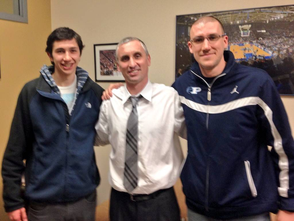 Prospect senior guard Bobby Frasco, left, with Buffalo coach Bobby Hurley and Knights varsity coach John Camardella. Frasco committed to Buffalo over the weekend.
